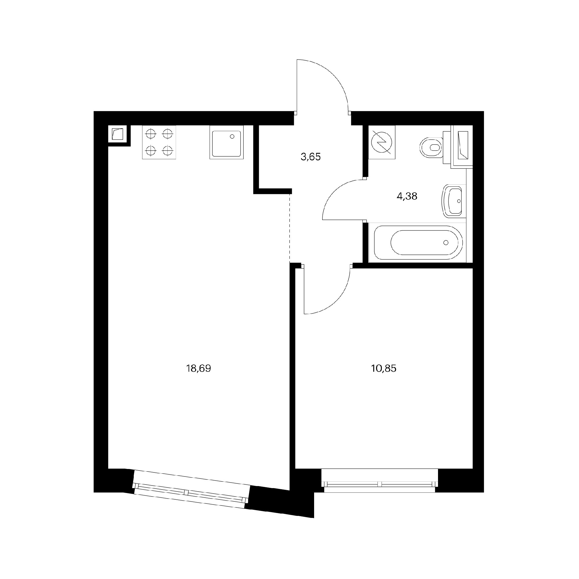 1-комнатная 37.57  м²