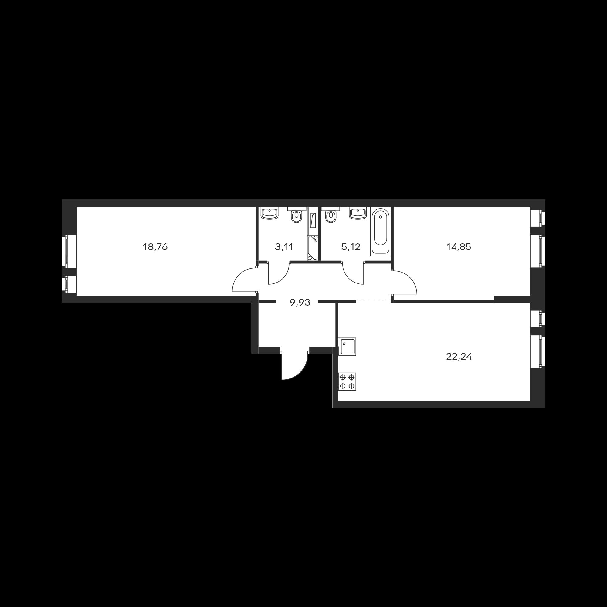 2-комнатная 74.01 м²