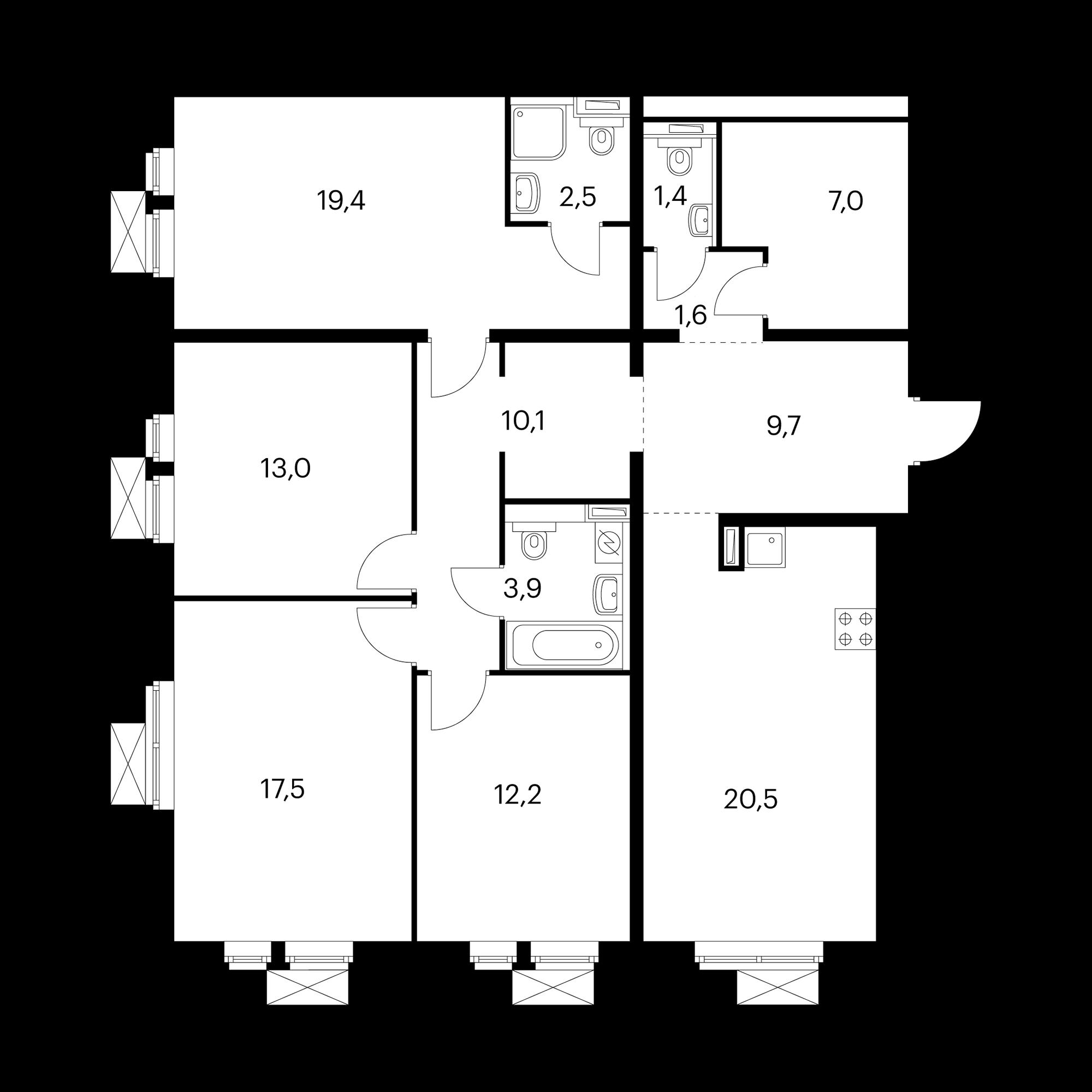 4-комнатная 119.6 м²