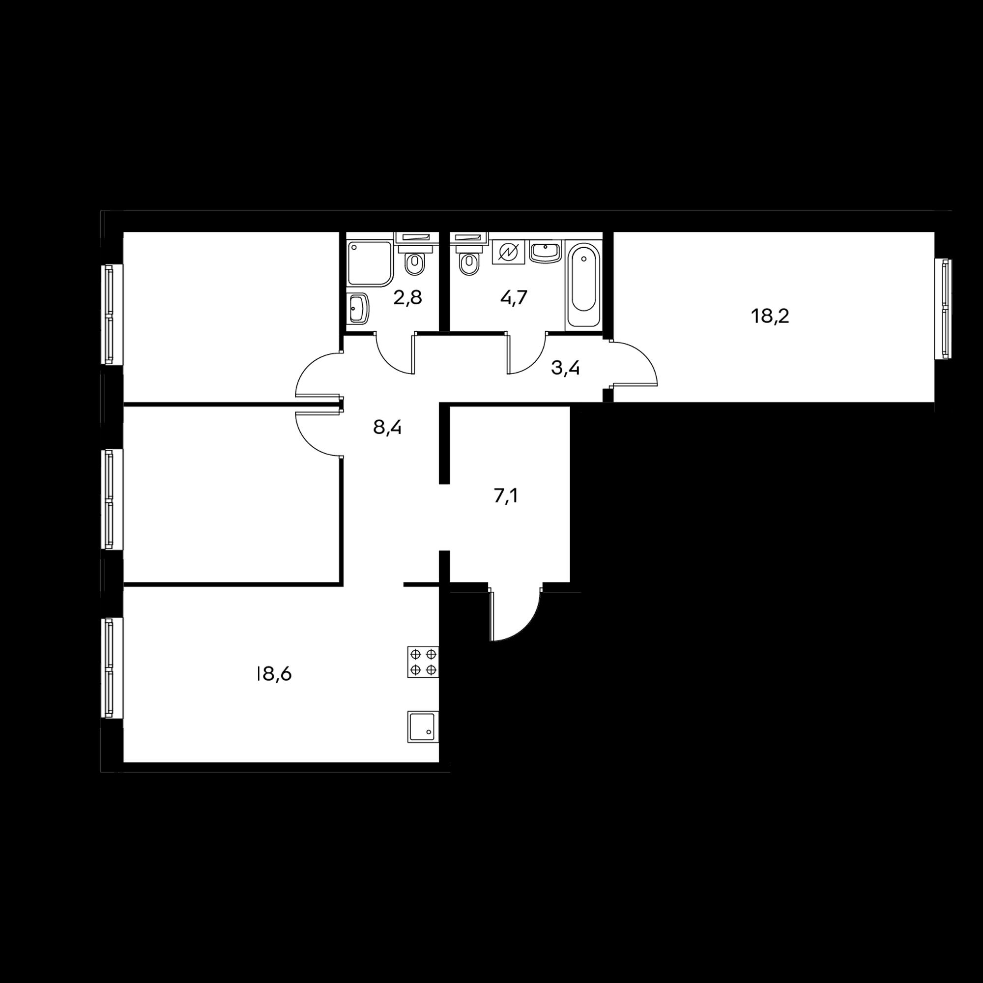 3-комнатная 87 м²