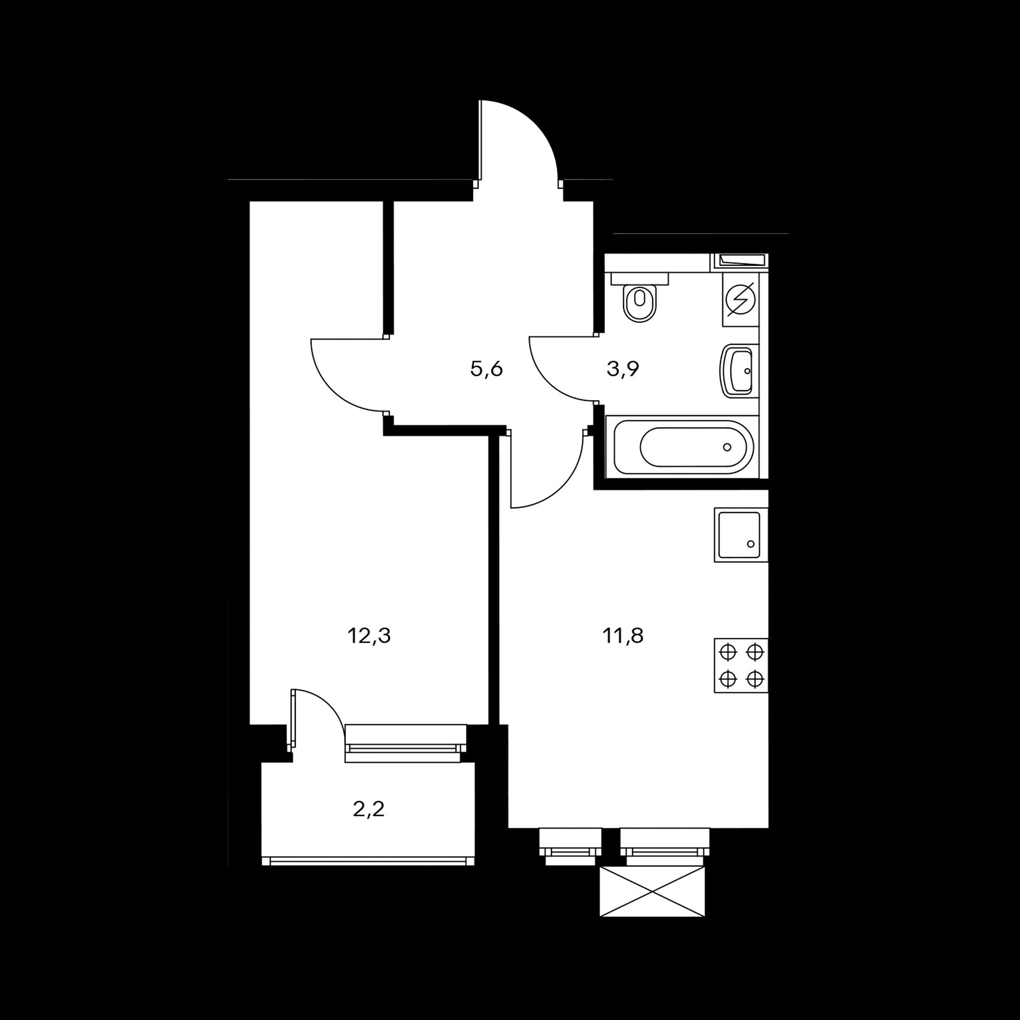 1-комнатная 34.8  м²