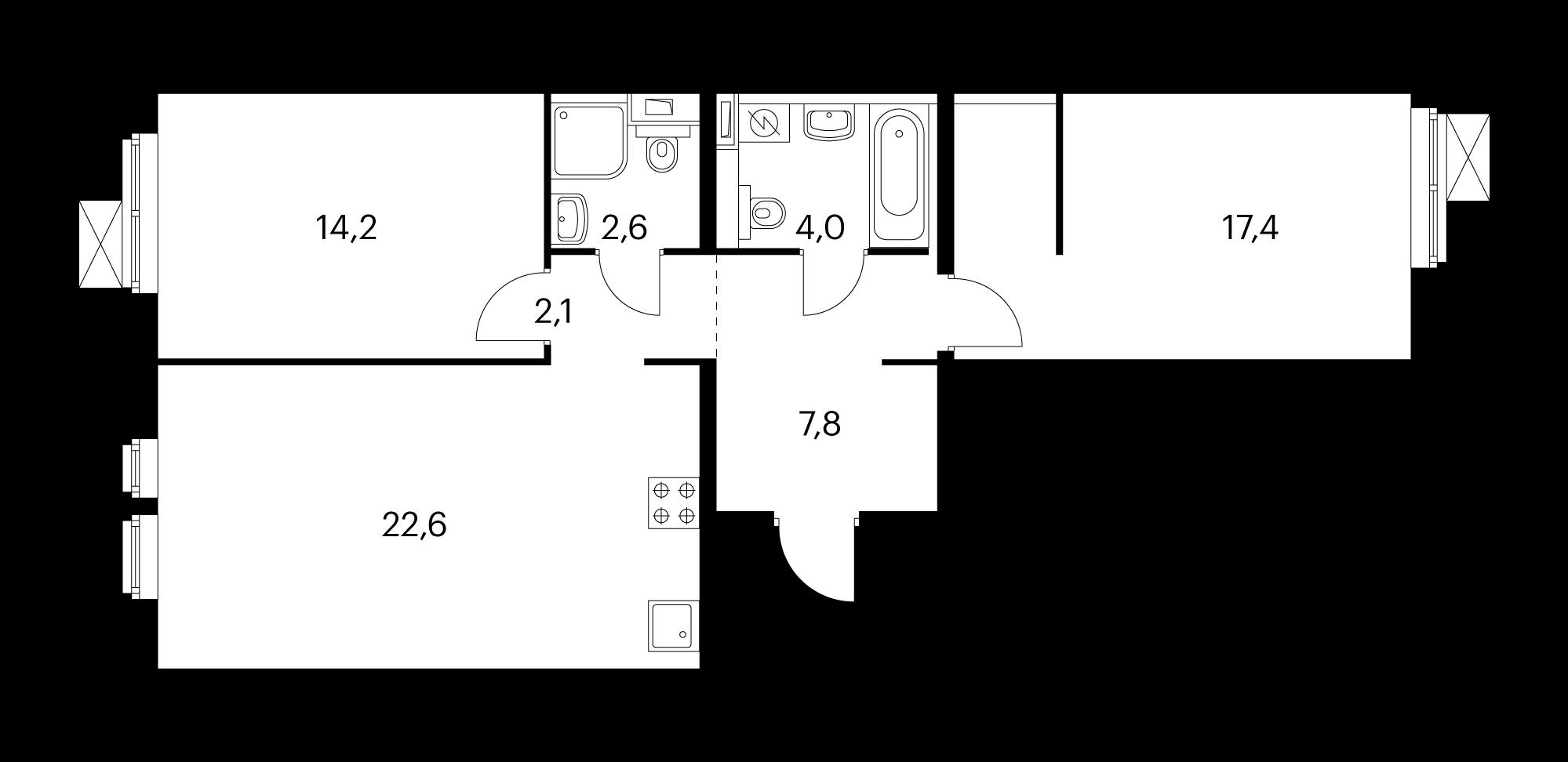 2-комнатная 69.9 м²