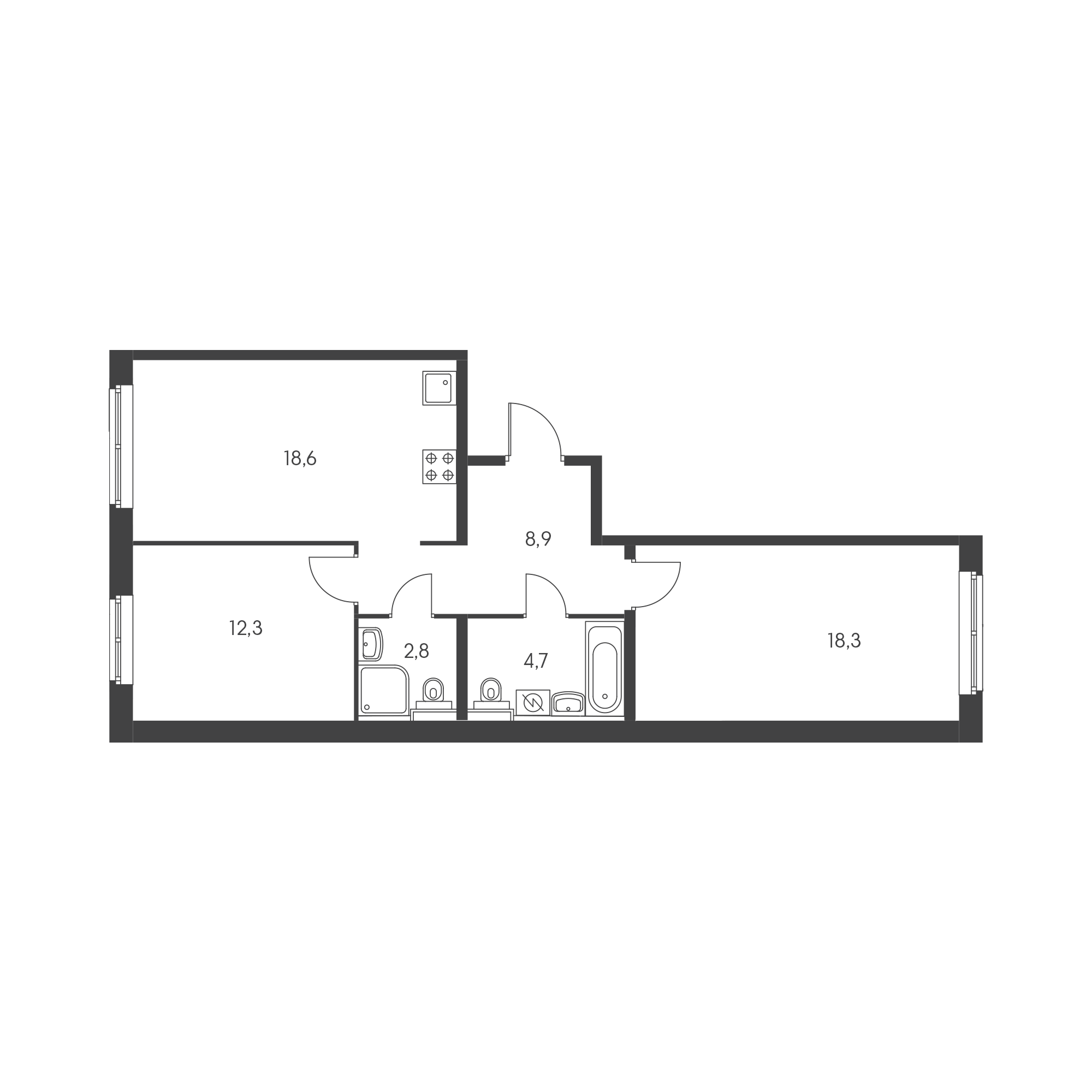 2-комнатная 66.7  м²