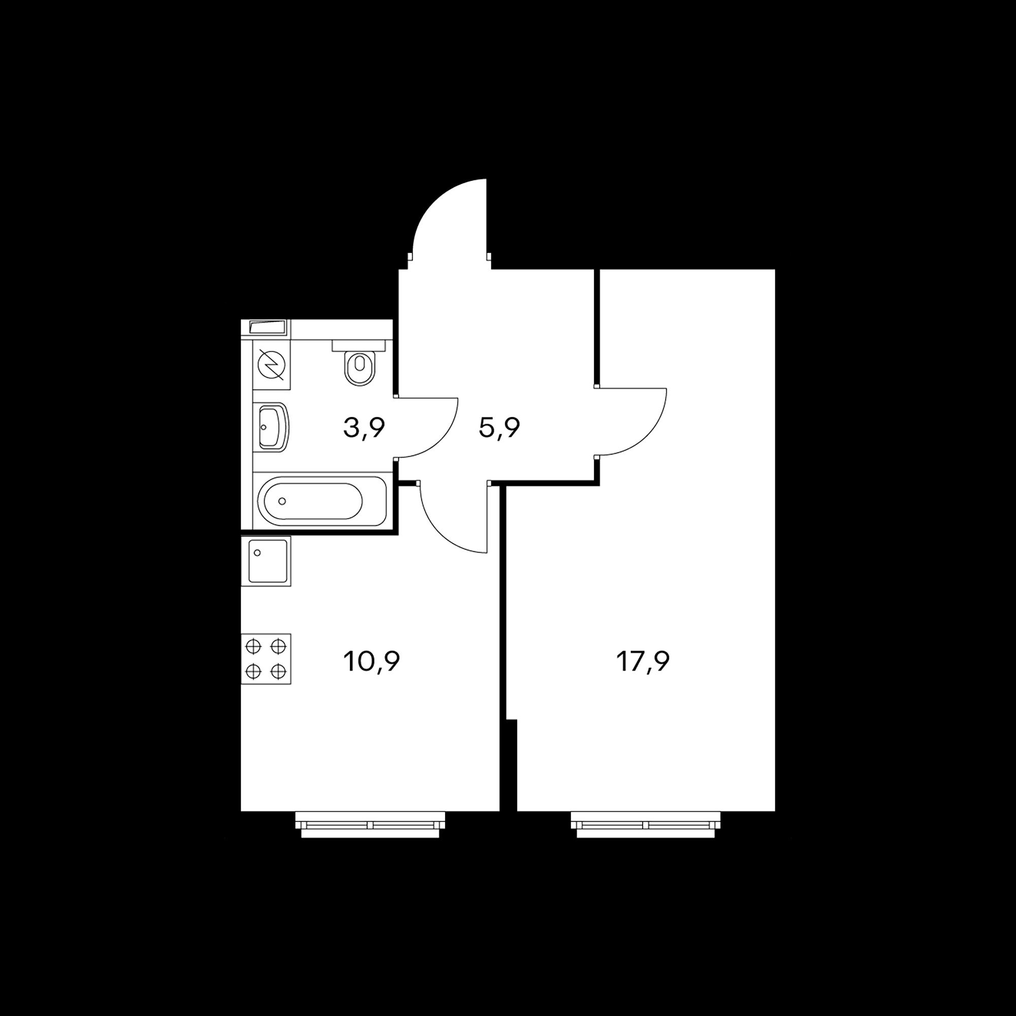 1-комнатная 38.6 м²