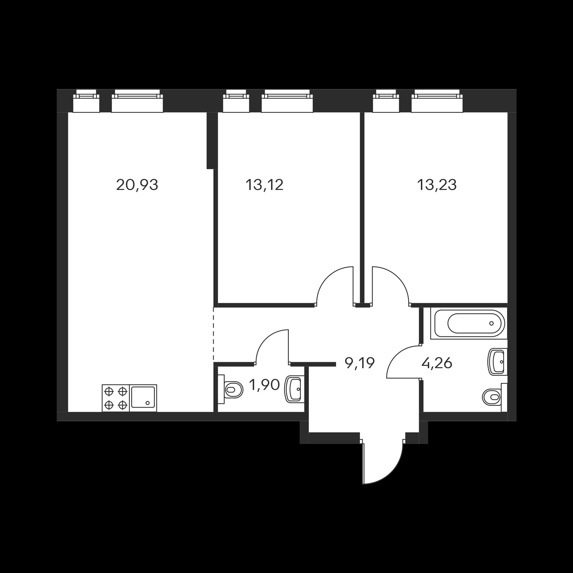 2-комнатная 62.63  м²