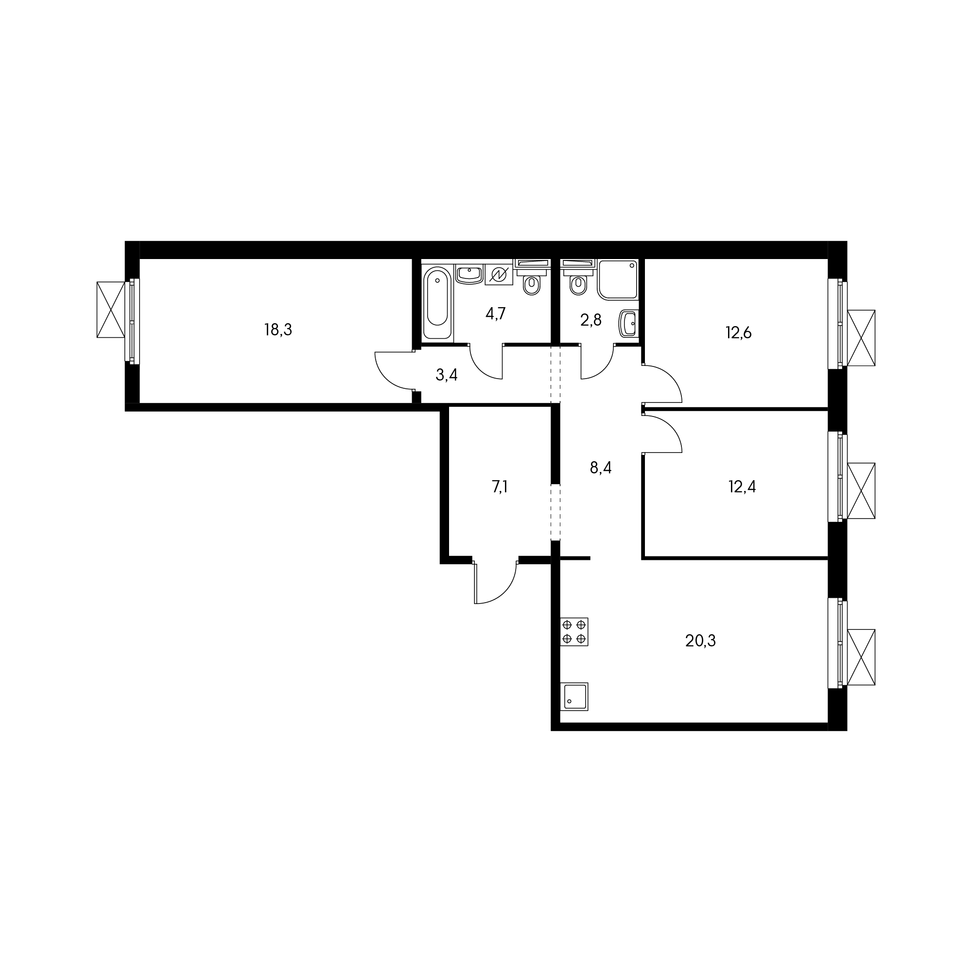 3-комнатная 88.7 м²