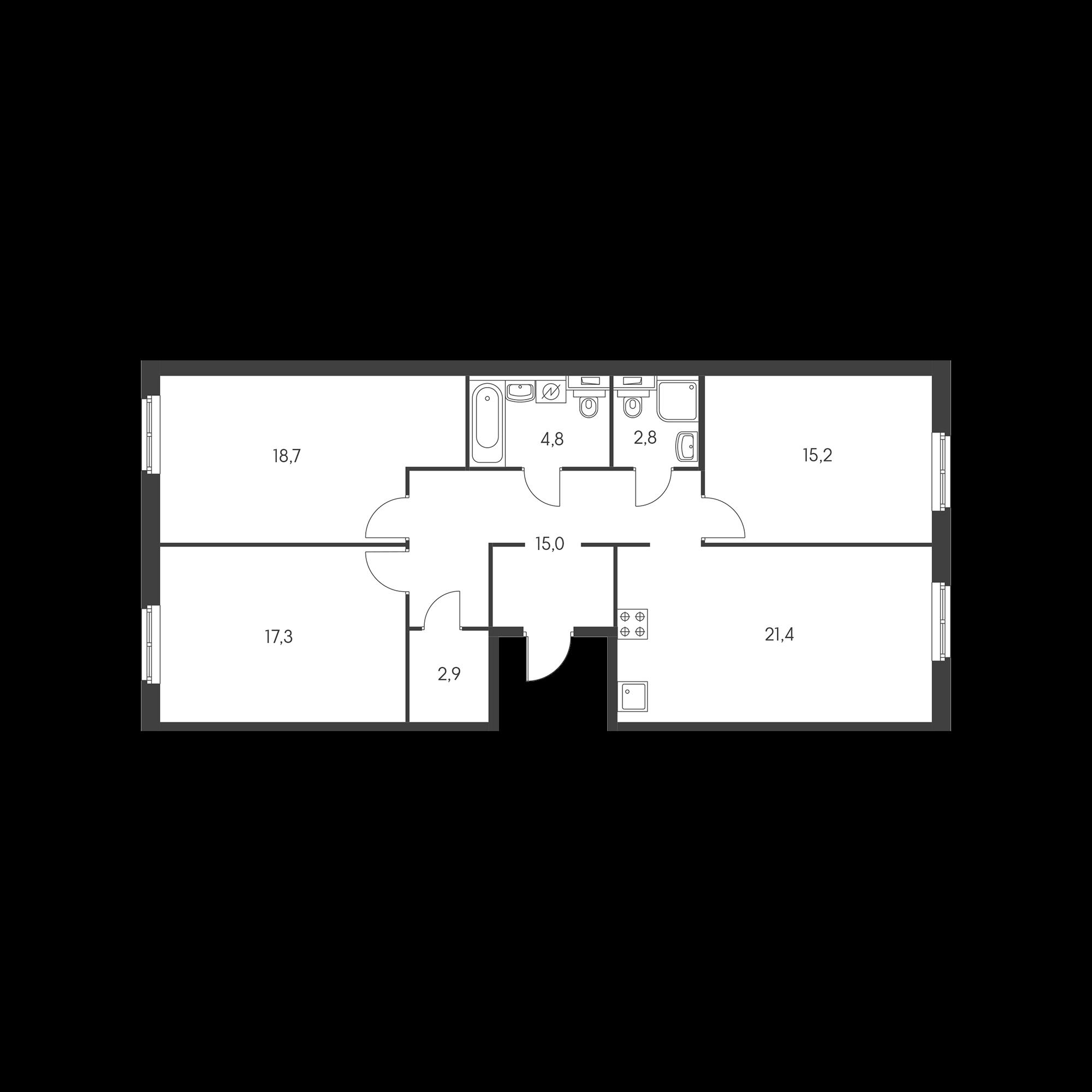 3-комнатная 98.1 м²