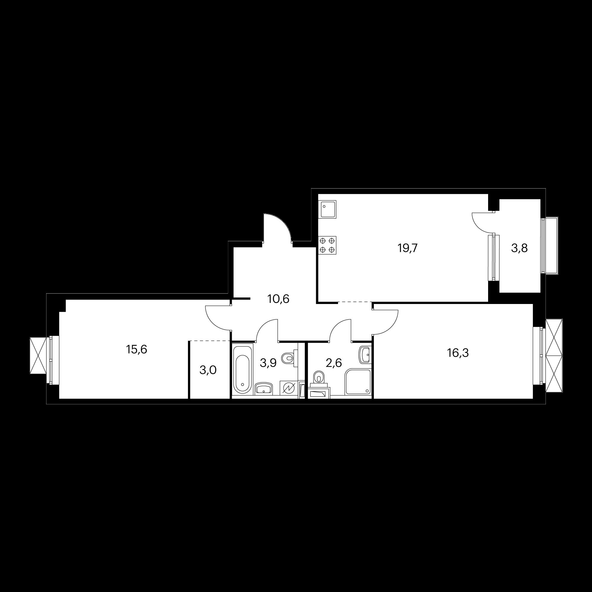 2-комнатная 73.6 м²