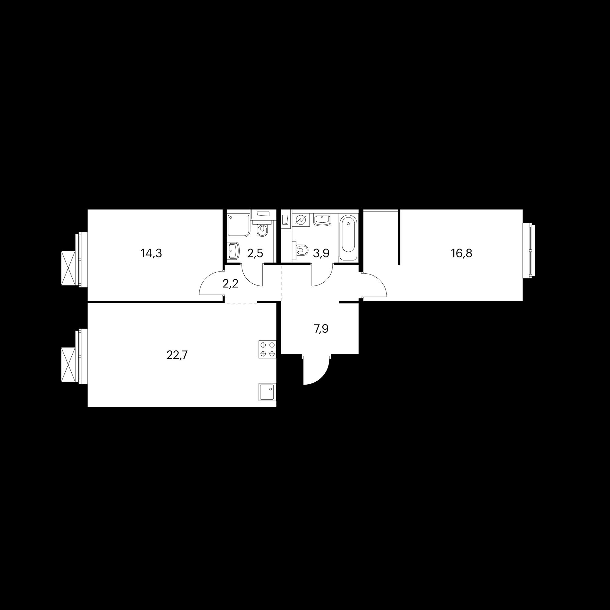 2-комнатная 70.6 м²