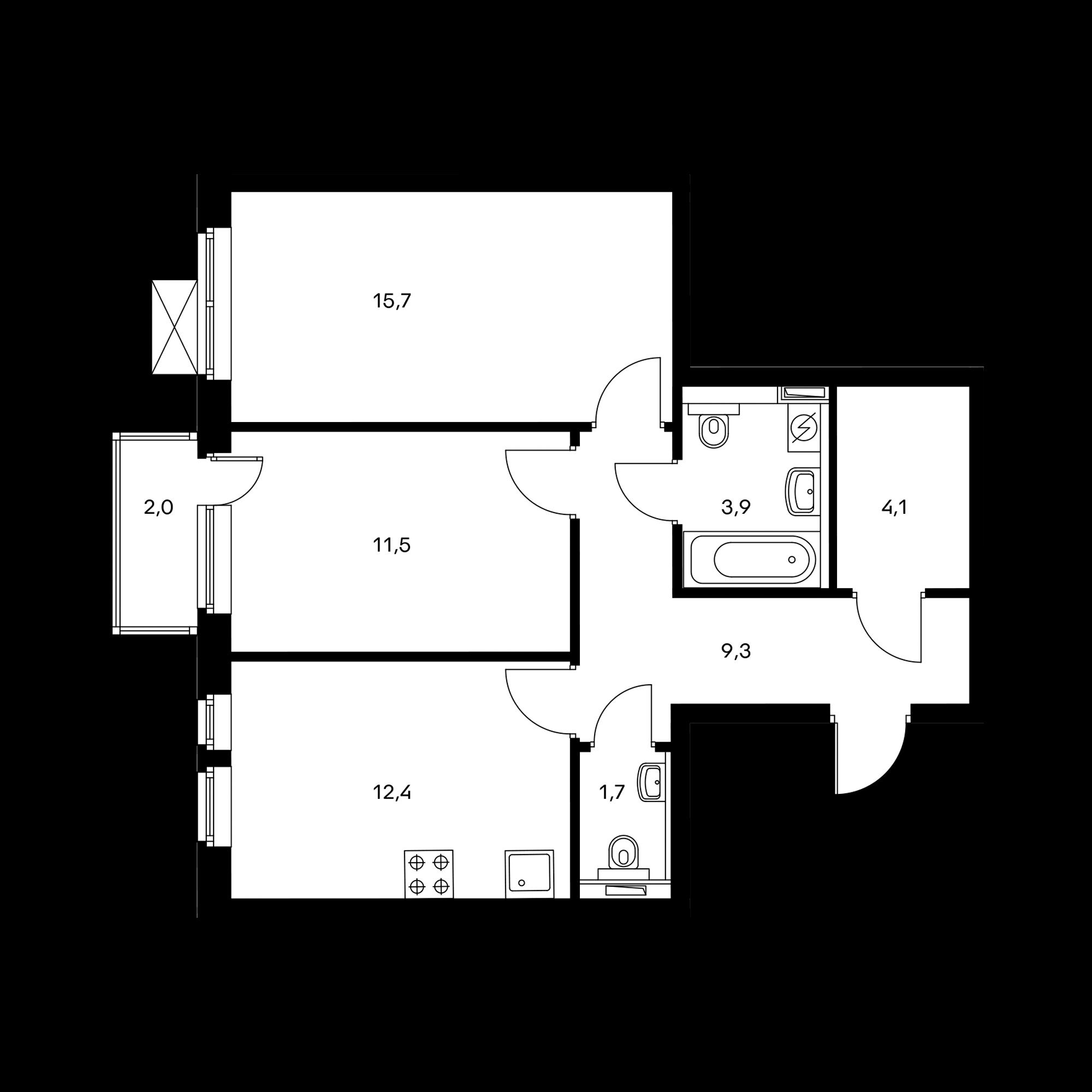 2-комнатная 59.2 м²