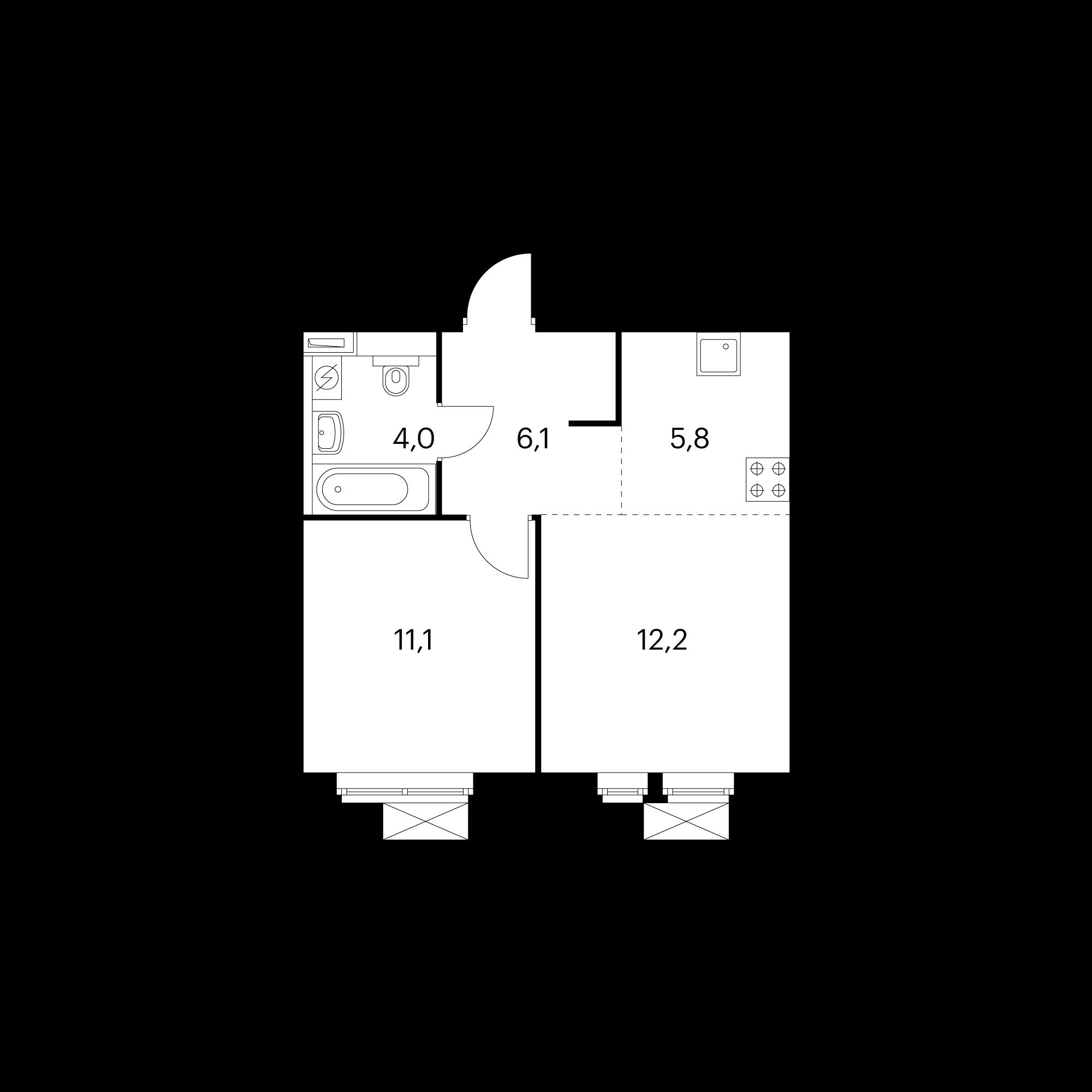 2-комнатная 39.2 м²