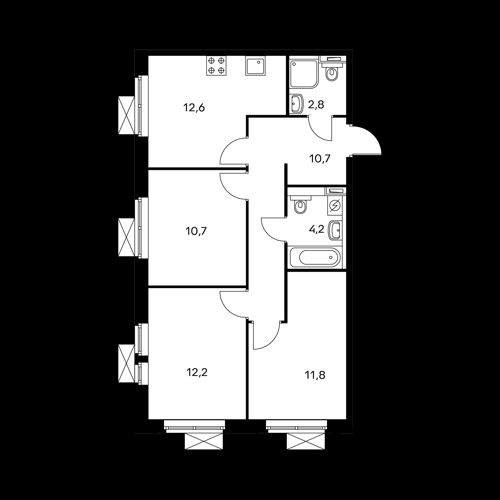 3-комнатная 65 м²