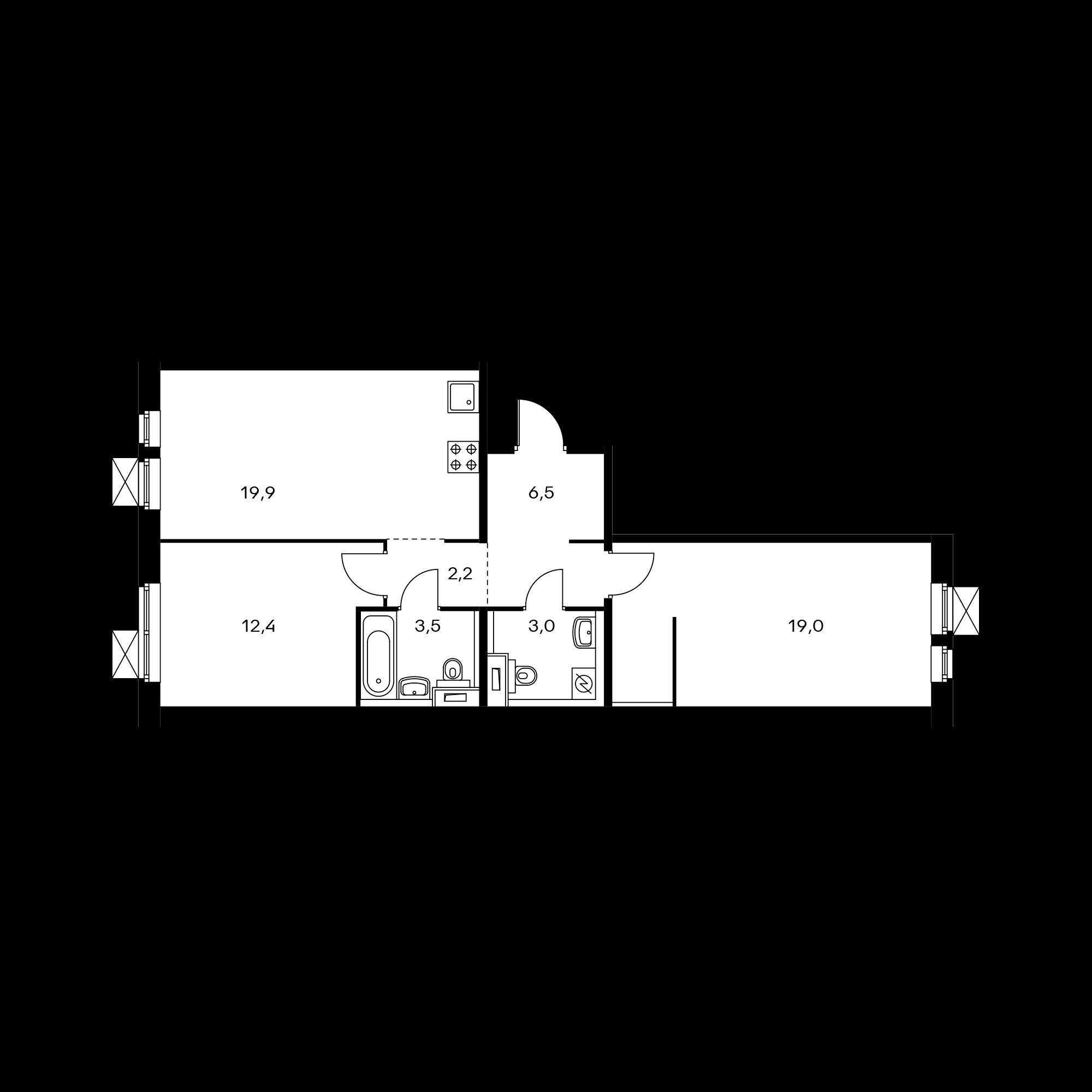 2-комнатная 66.8 м²