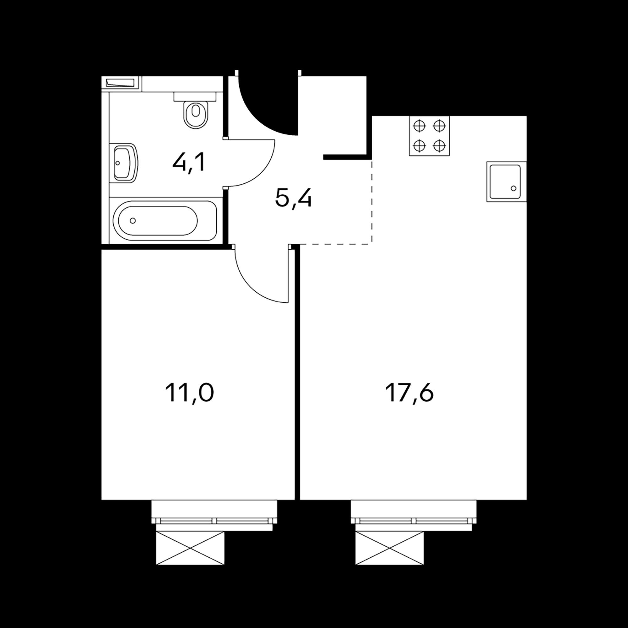 1-комнатные 38.1  м²