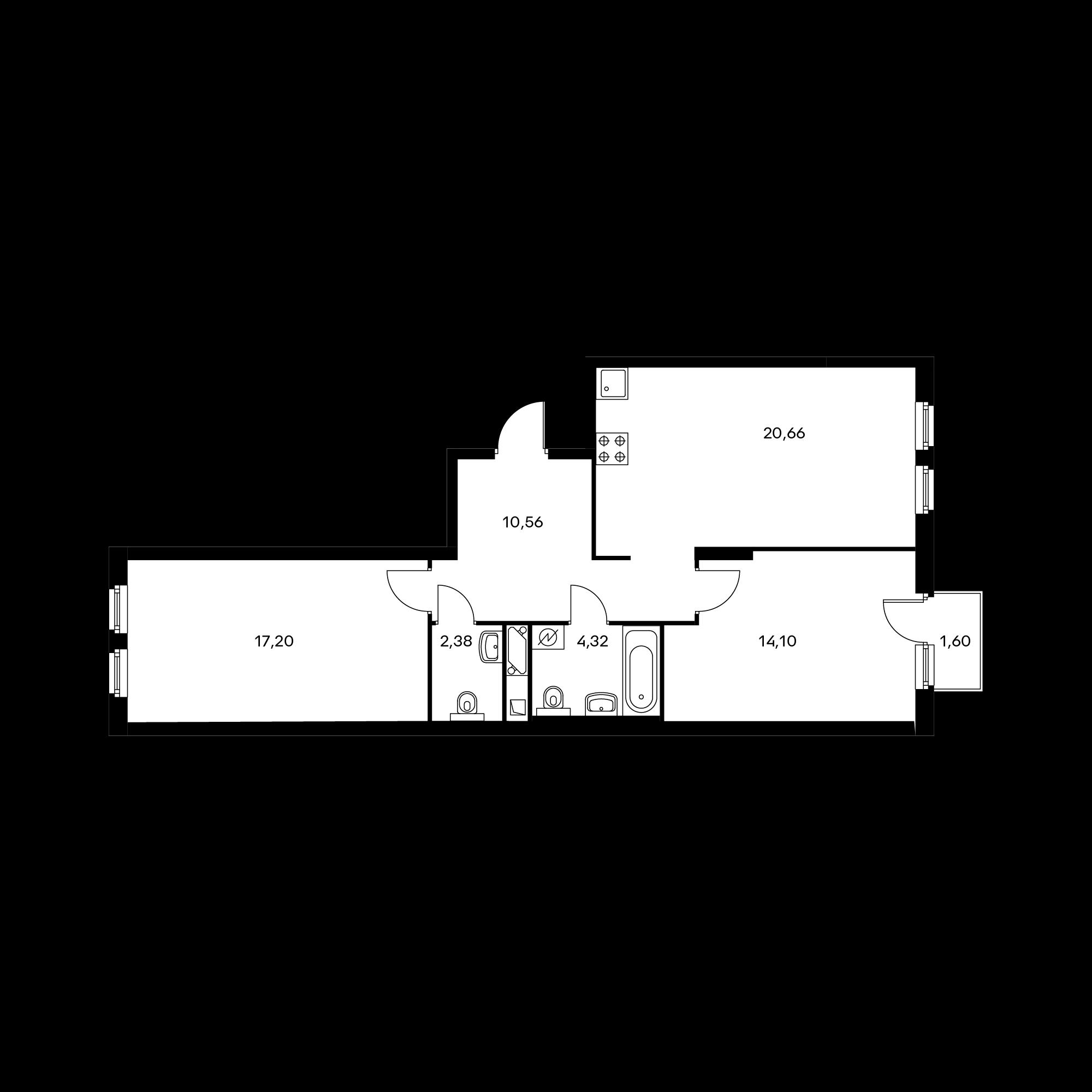 2-комнатная 69.71 м²