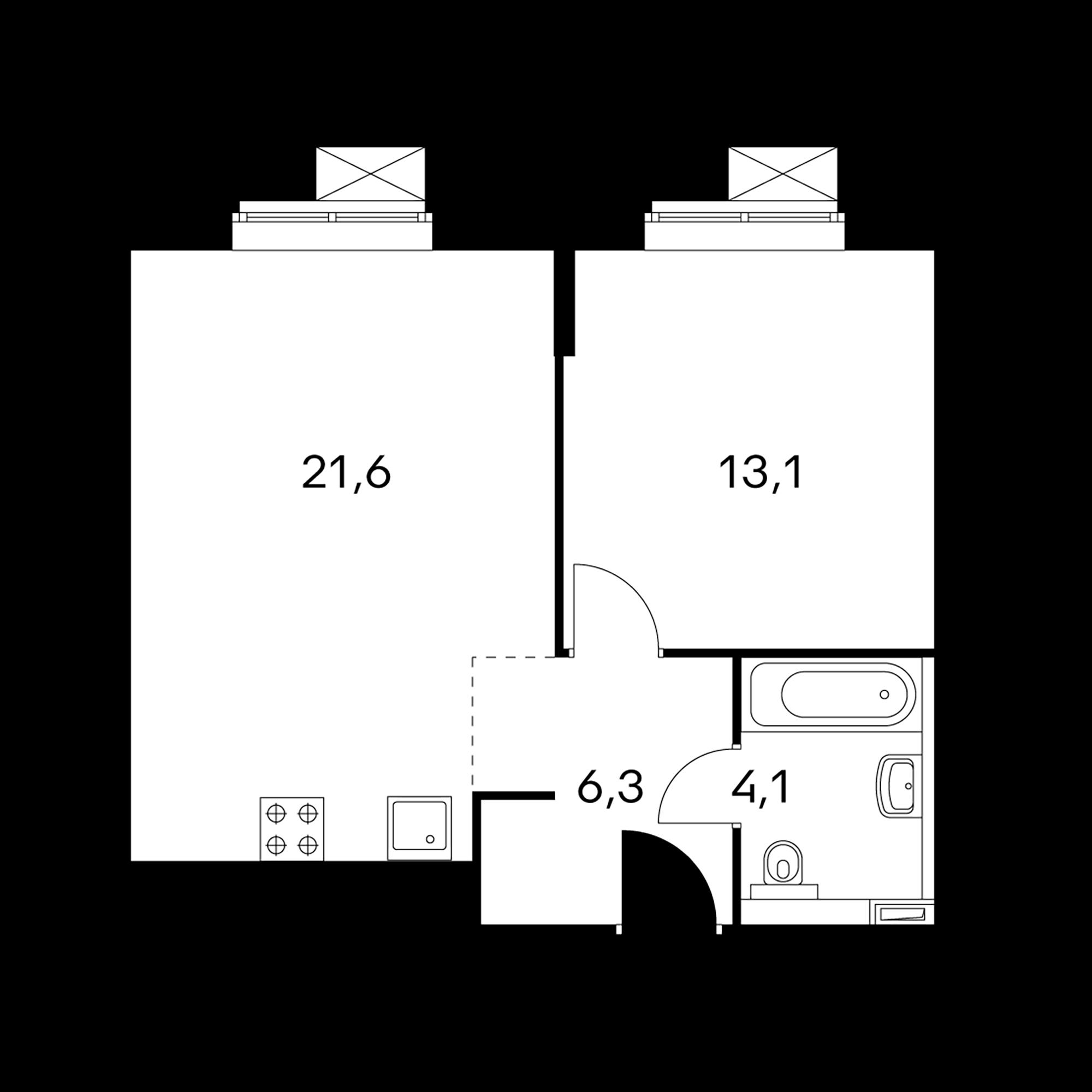 1-комнатные 45.1  м²