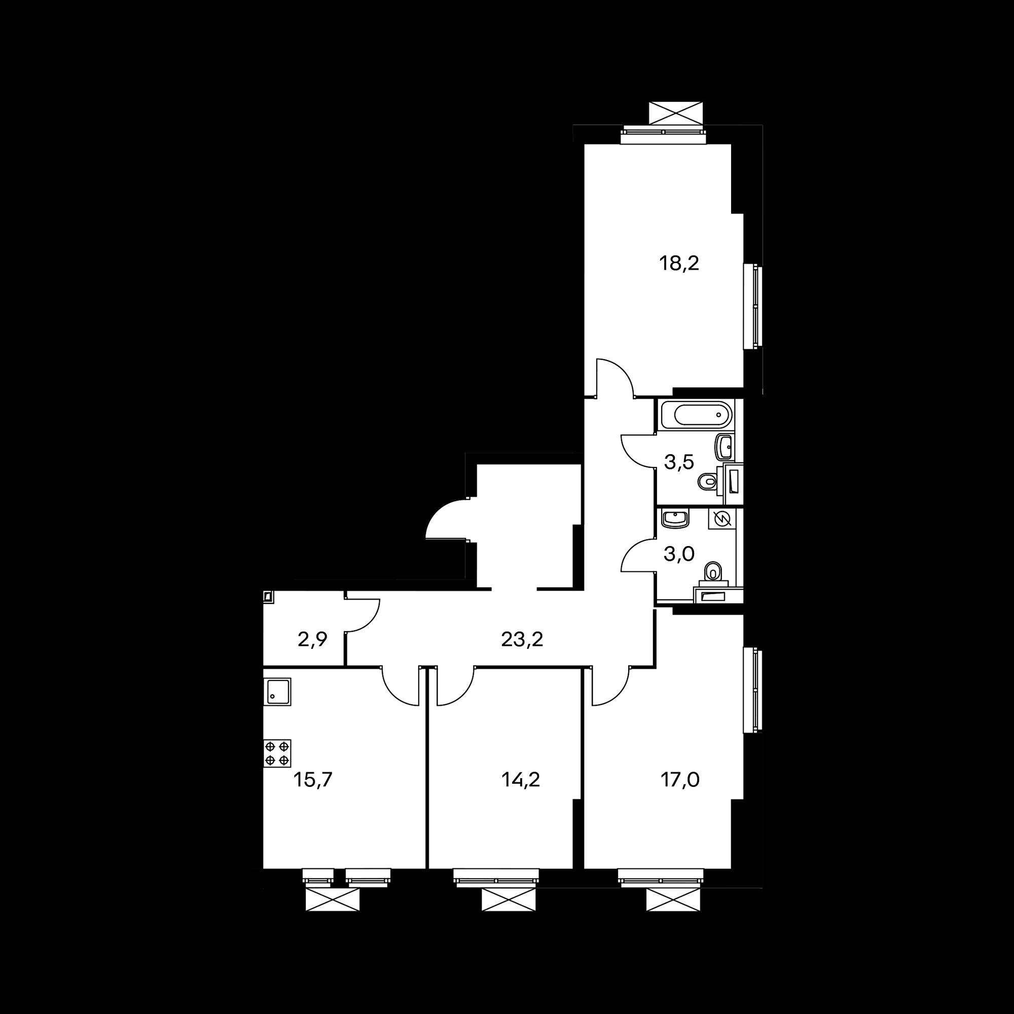 3-комнатная 97.8 м²
