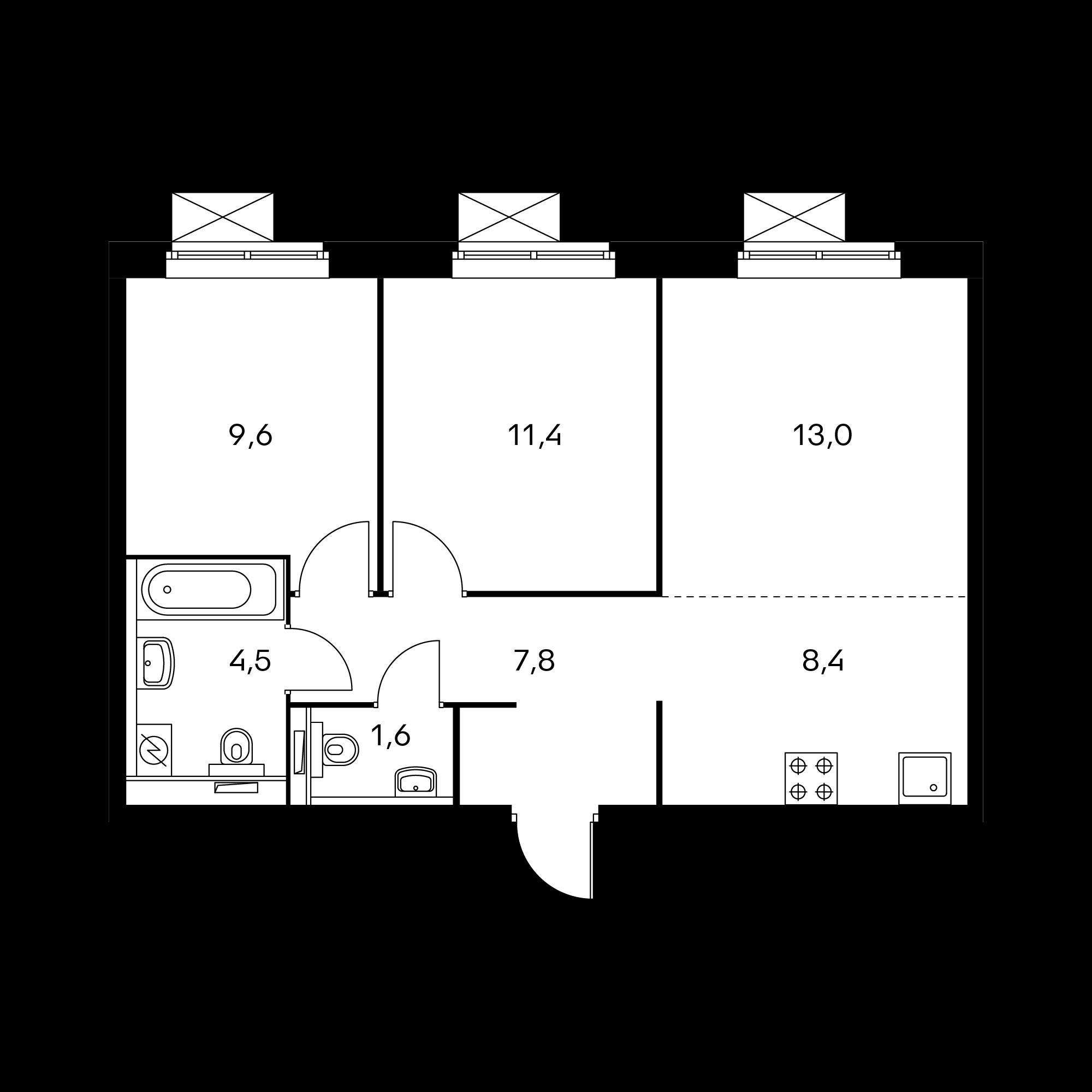 3-комнатная 56.1  м²