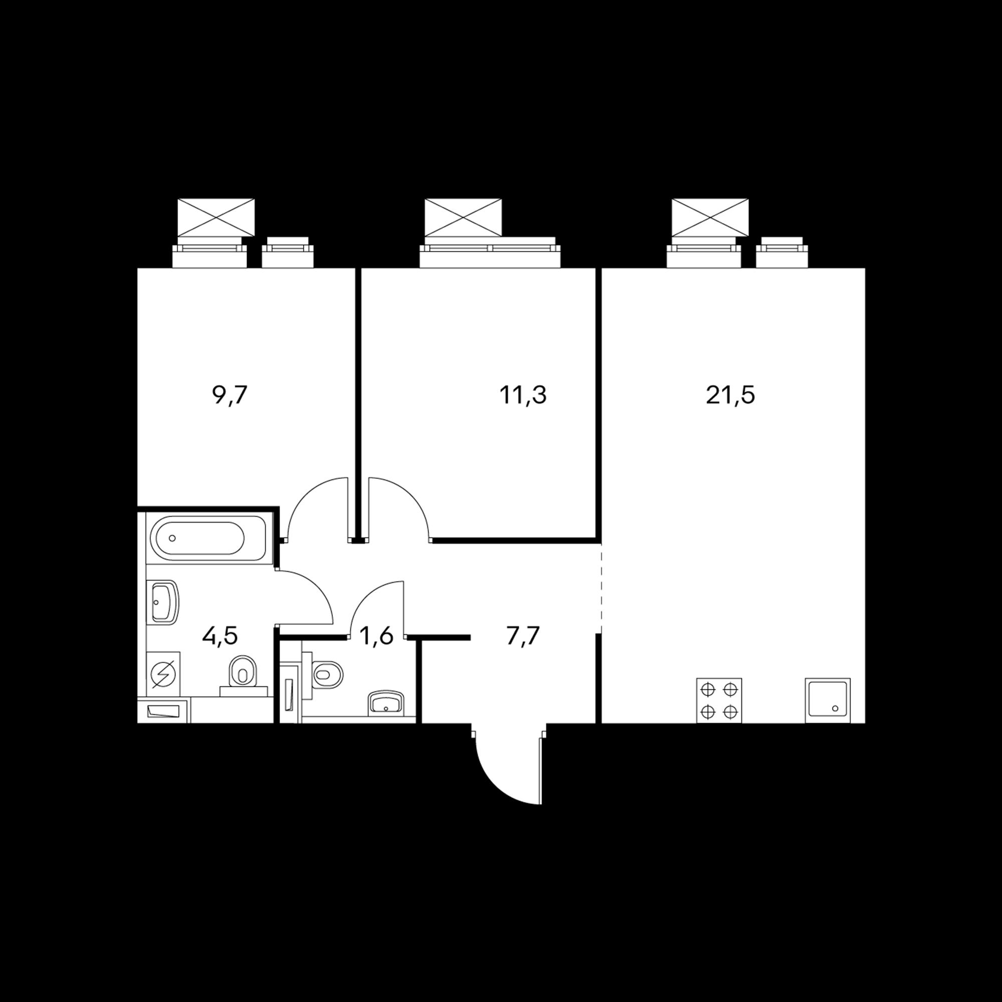 2-комнатная 56.3 м²