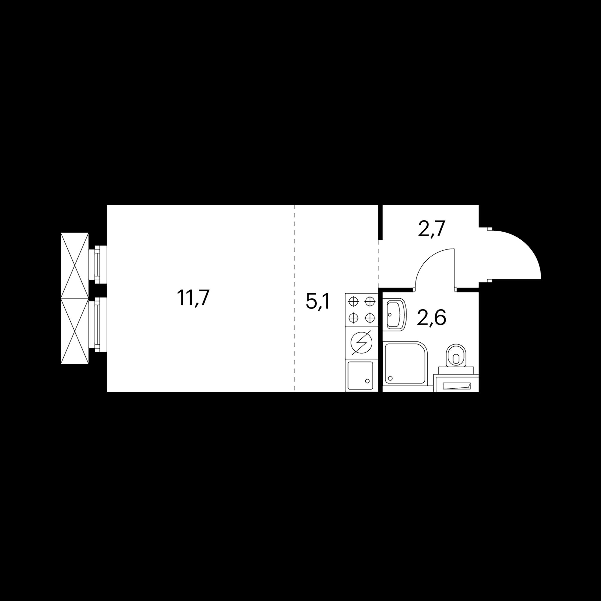 Студия 22.1 м²