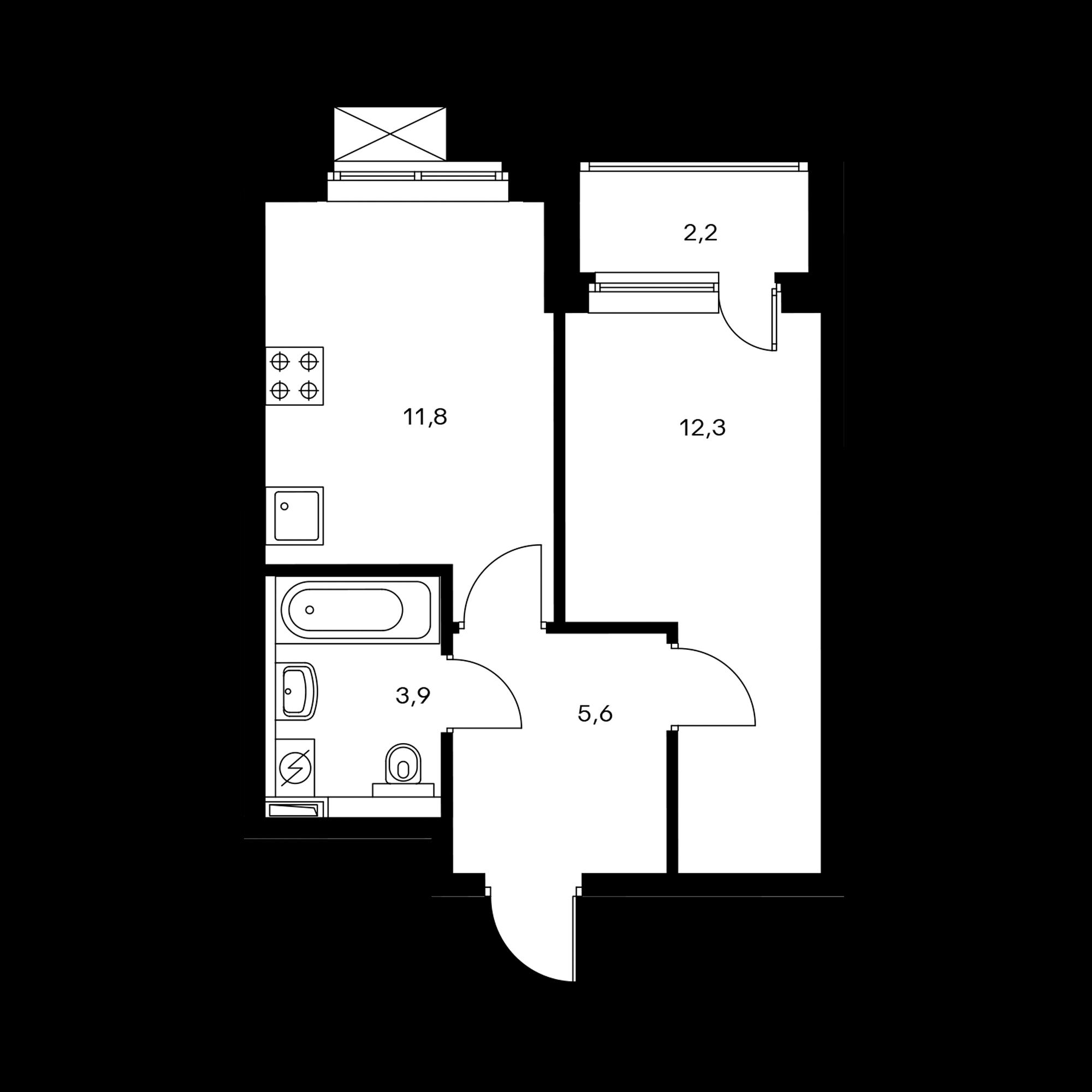 1-комнатная 34.9  м²