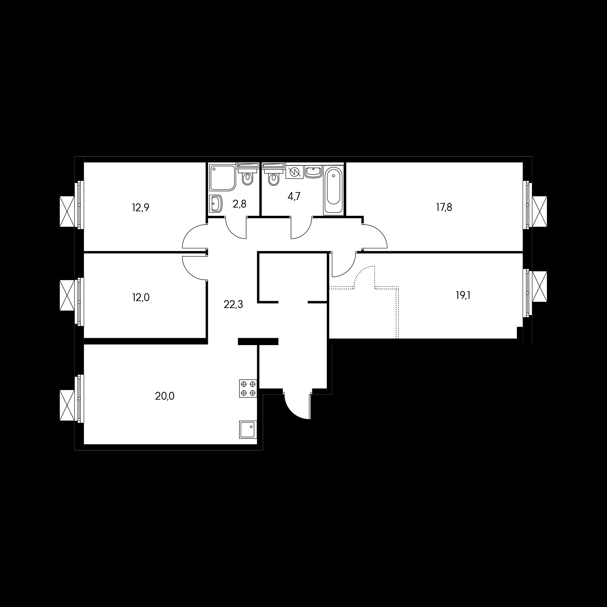 4-комнатная 109.5 м²