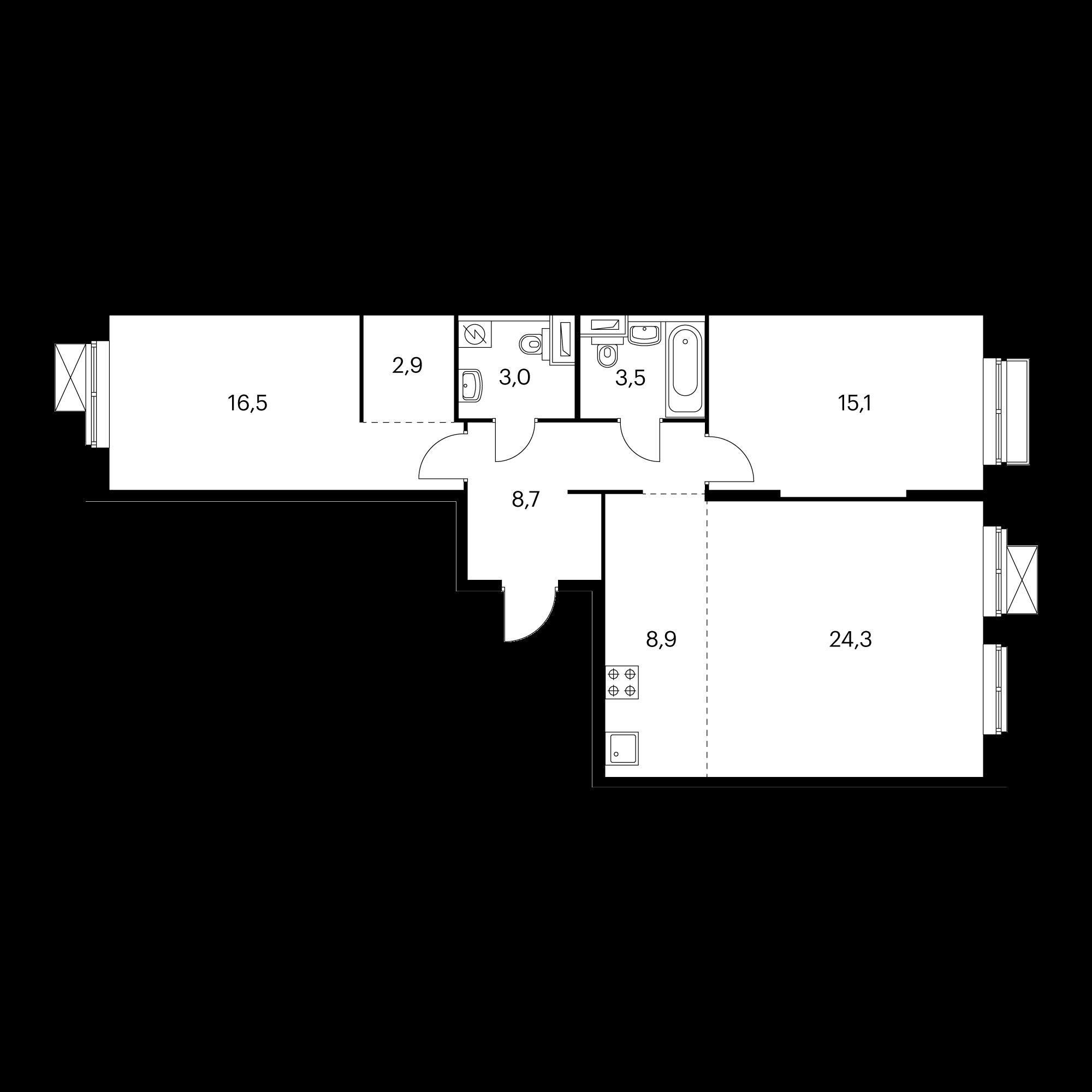 3-комнатная 82.9 м²