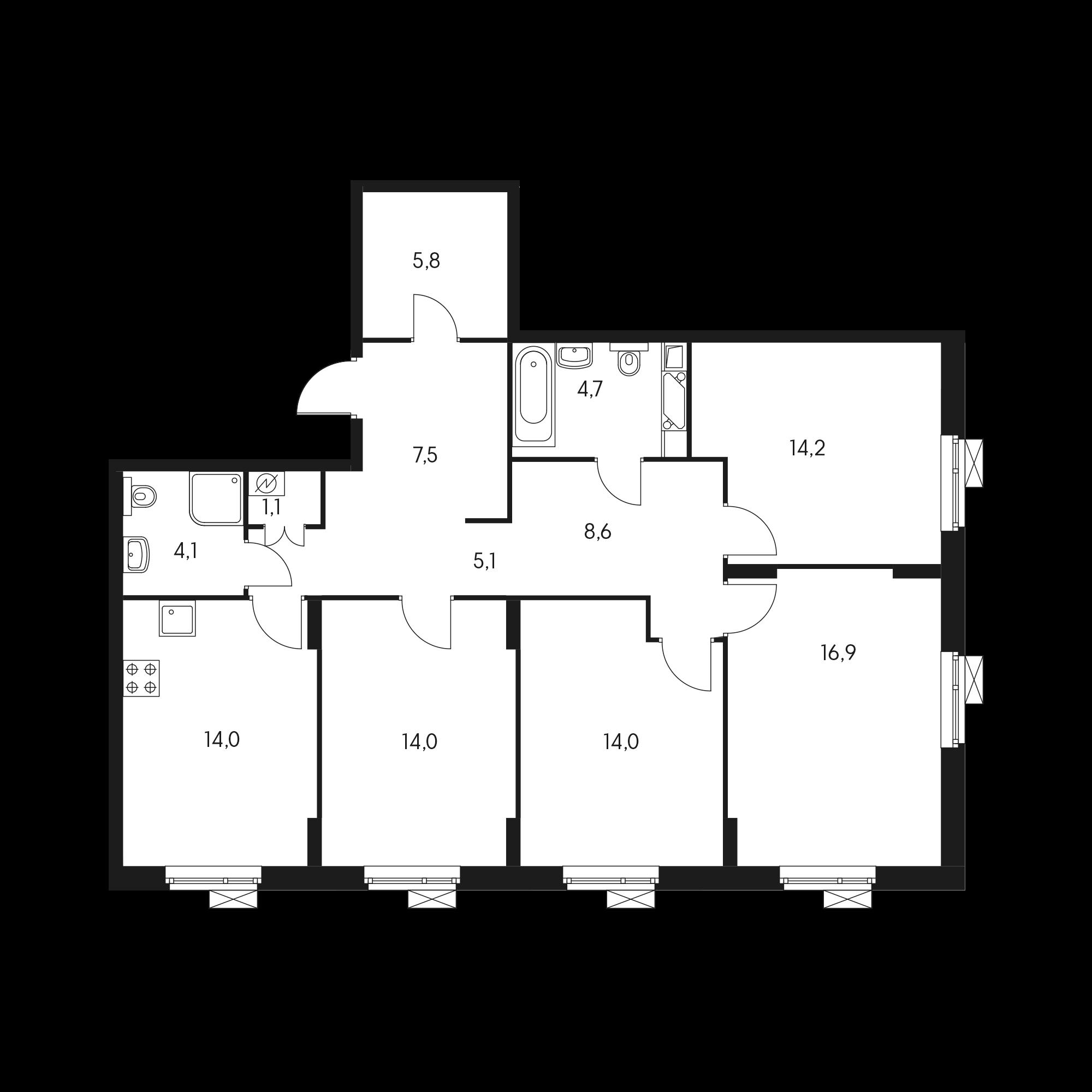 4-комнатная 110.6 м²
