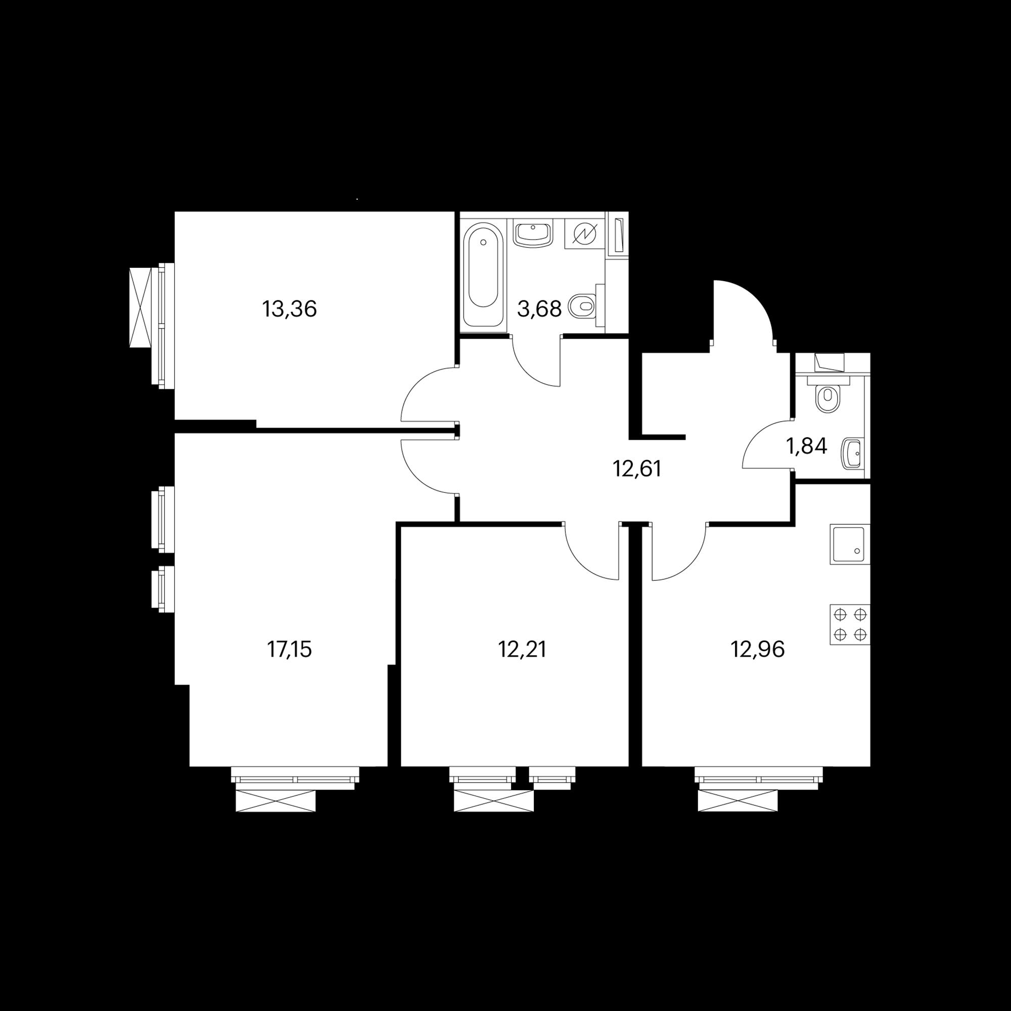3-комнатная 73.73 м²
