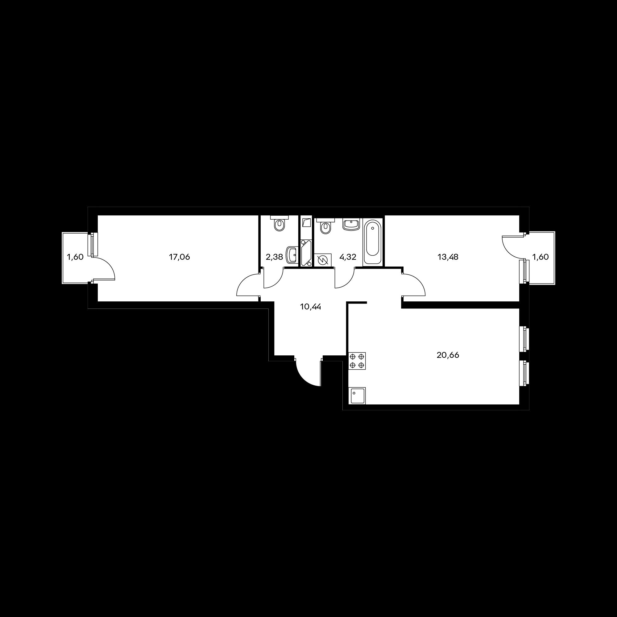 2-комнатная 69.32 м²