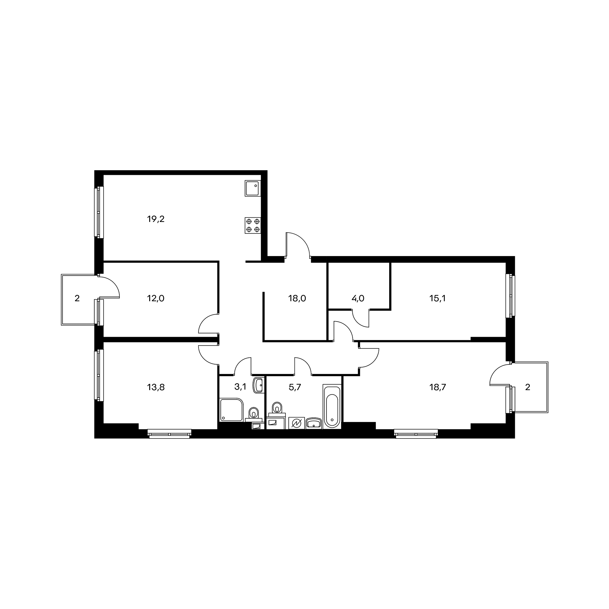 4-комнатная 110.8  м²