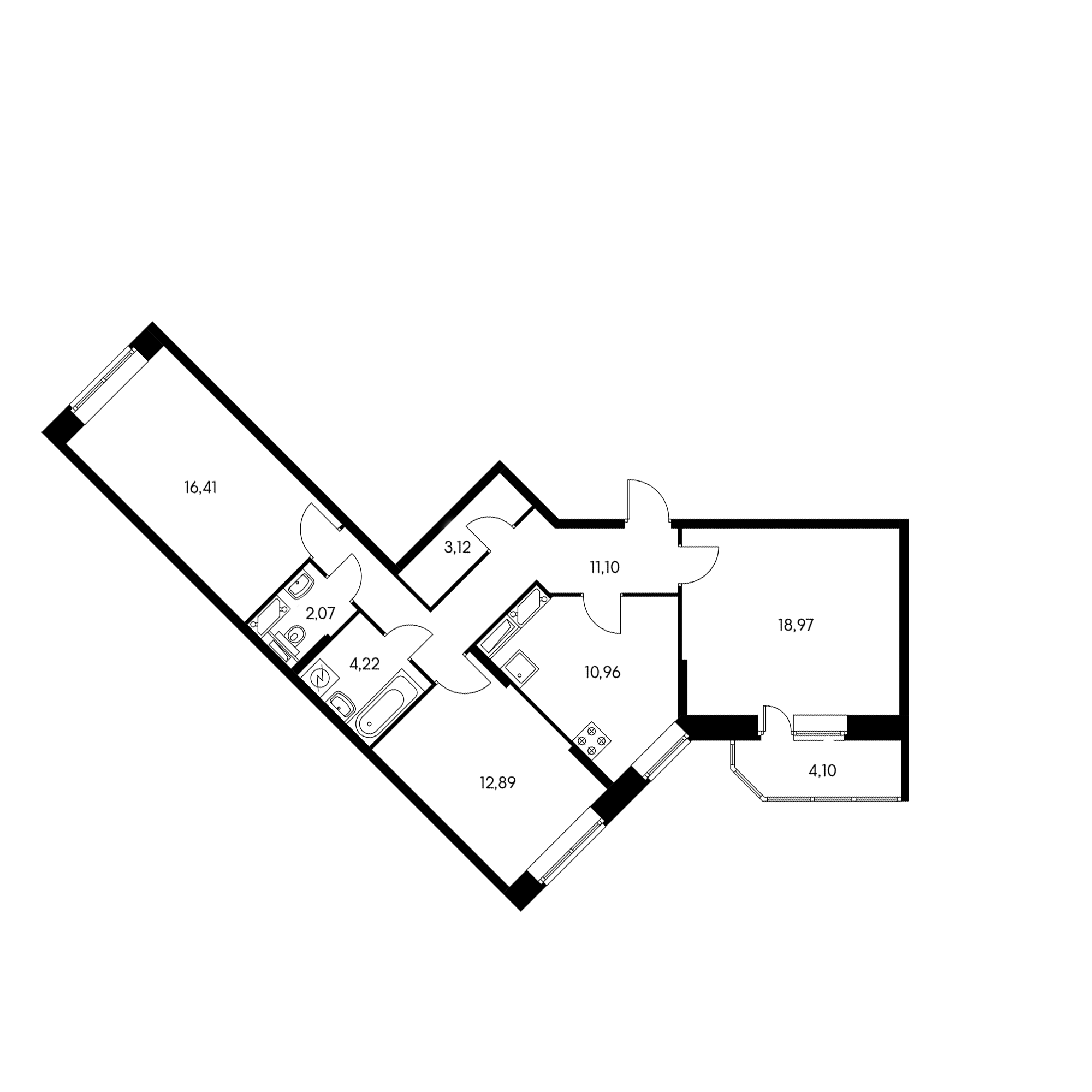 3-комнатная 80.7 м²