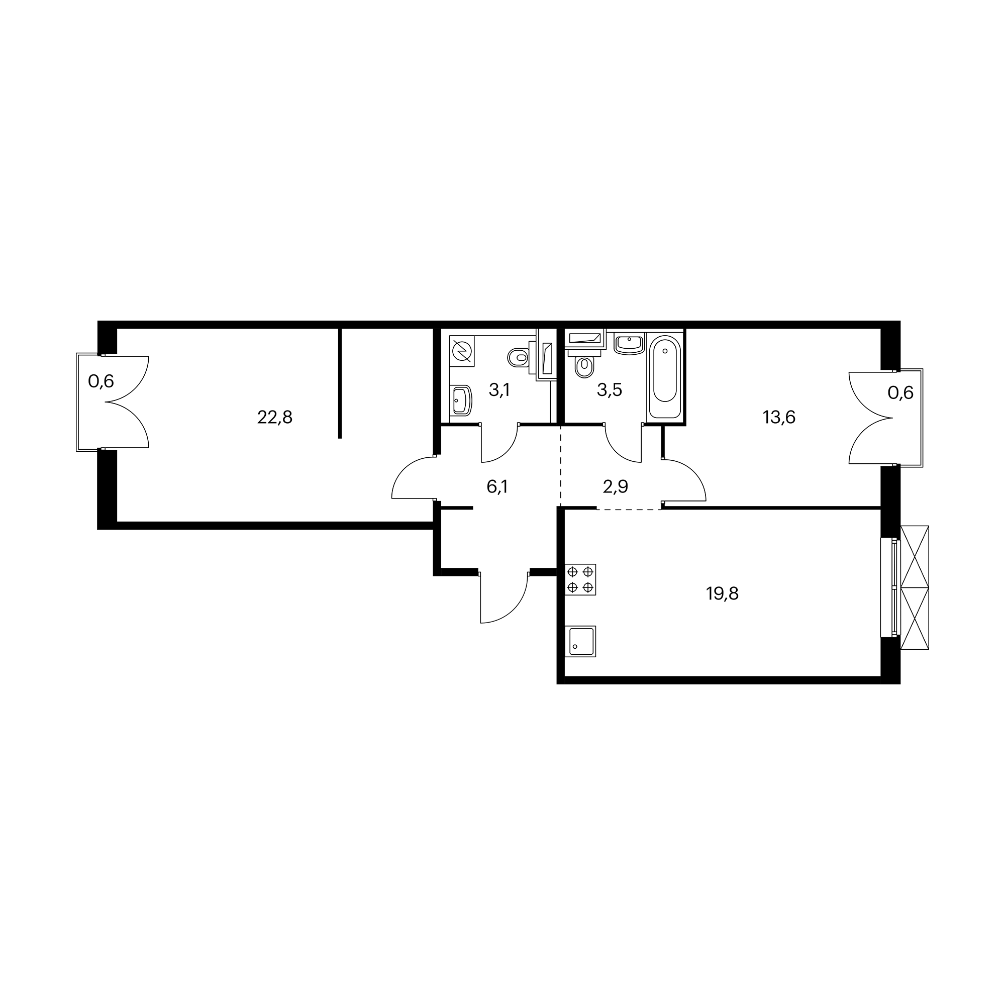2-комнатная 72.2  м²