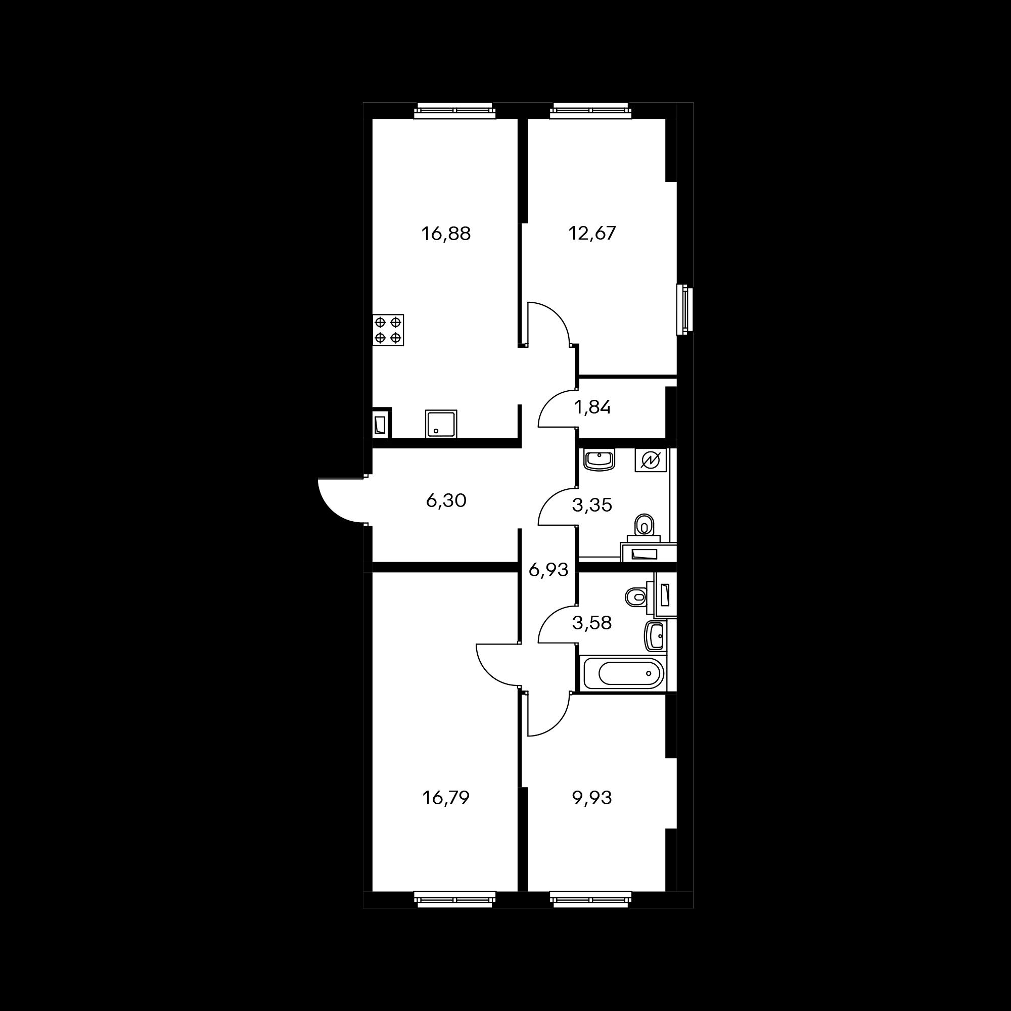 3-комнатная 78.27 м²