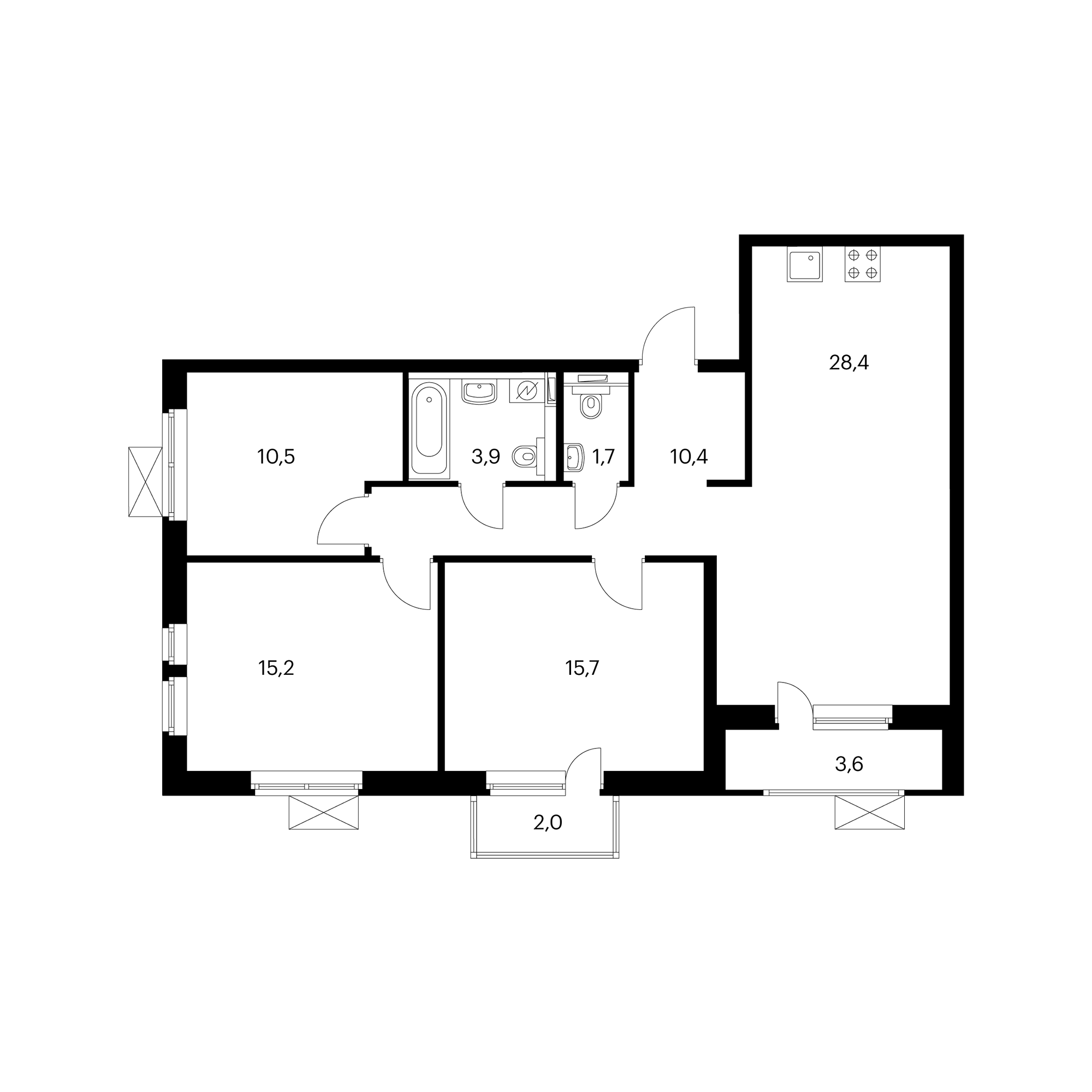 3-комнатная 88.2 м²