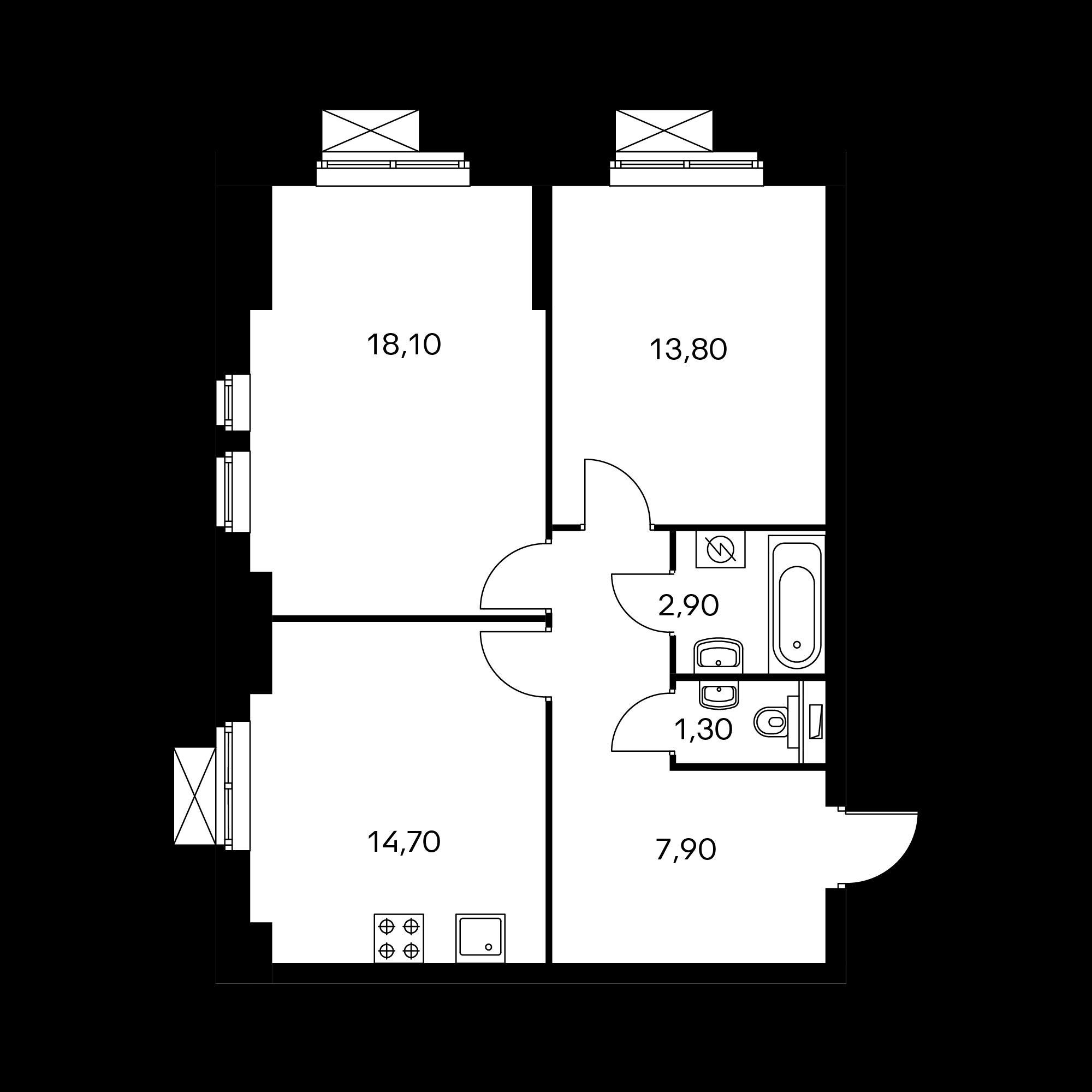 2-комнатная 62.9 м²