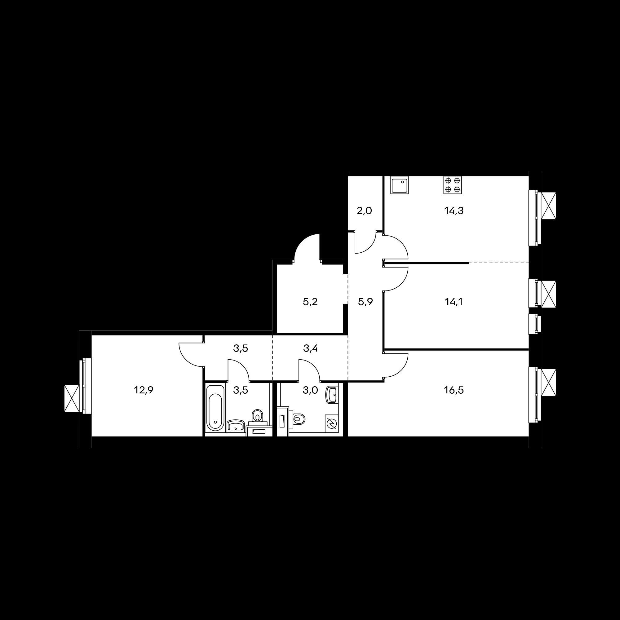3-комнатная 84.3  м²