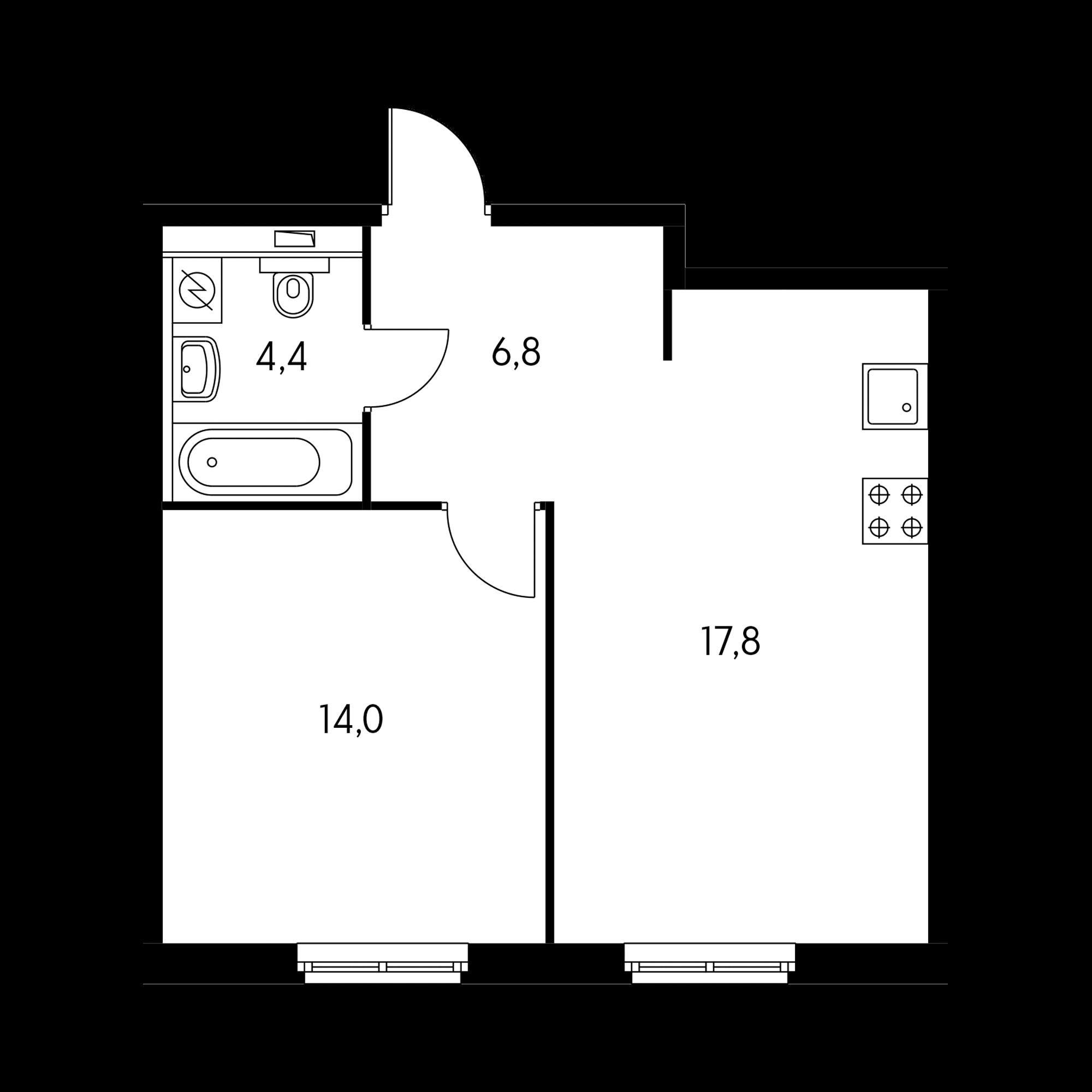 1-комнатная 43.4 м²