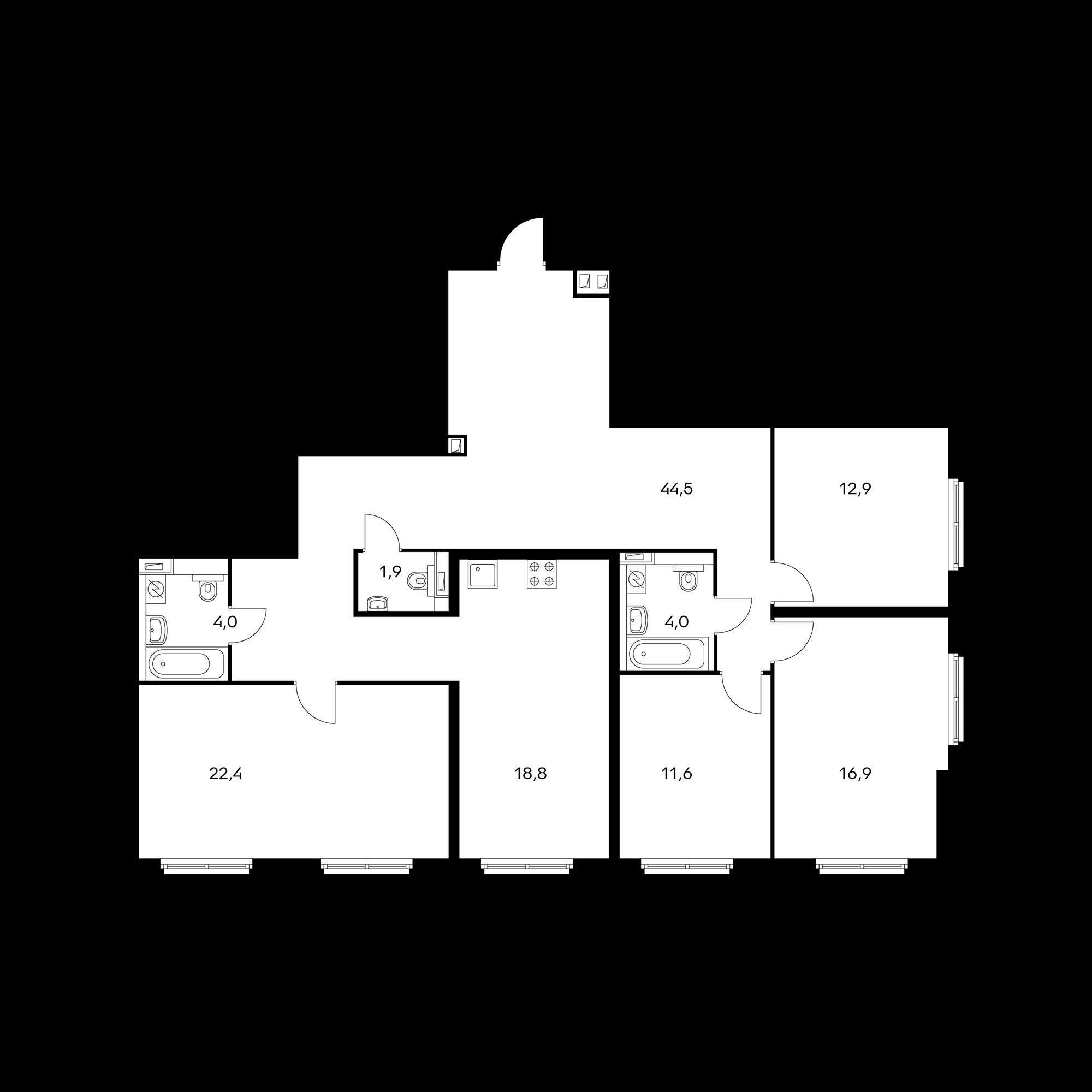 3-комнатная 137 м²