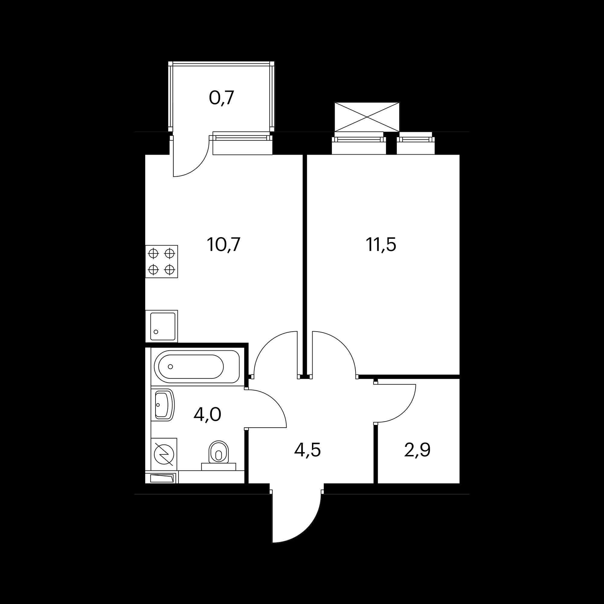 1-комнатная 34.3 м²