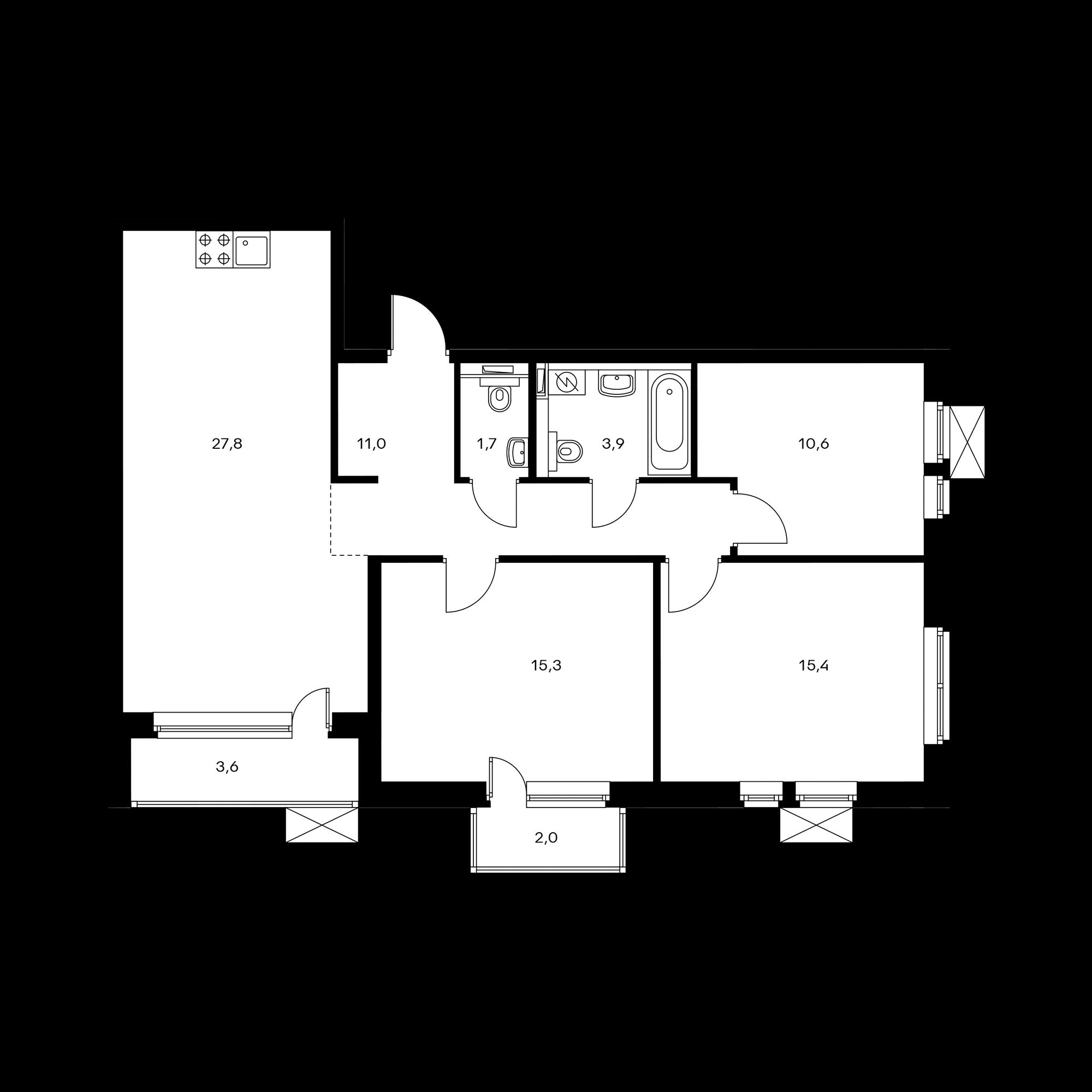 3-комнатная 88.1 м²