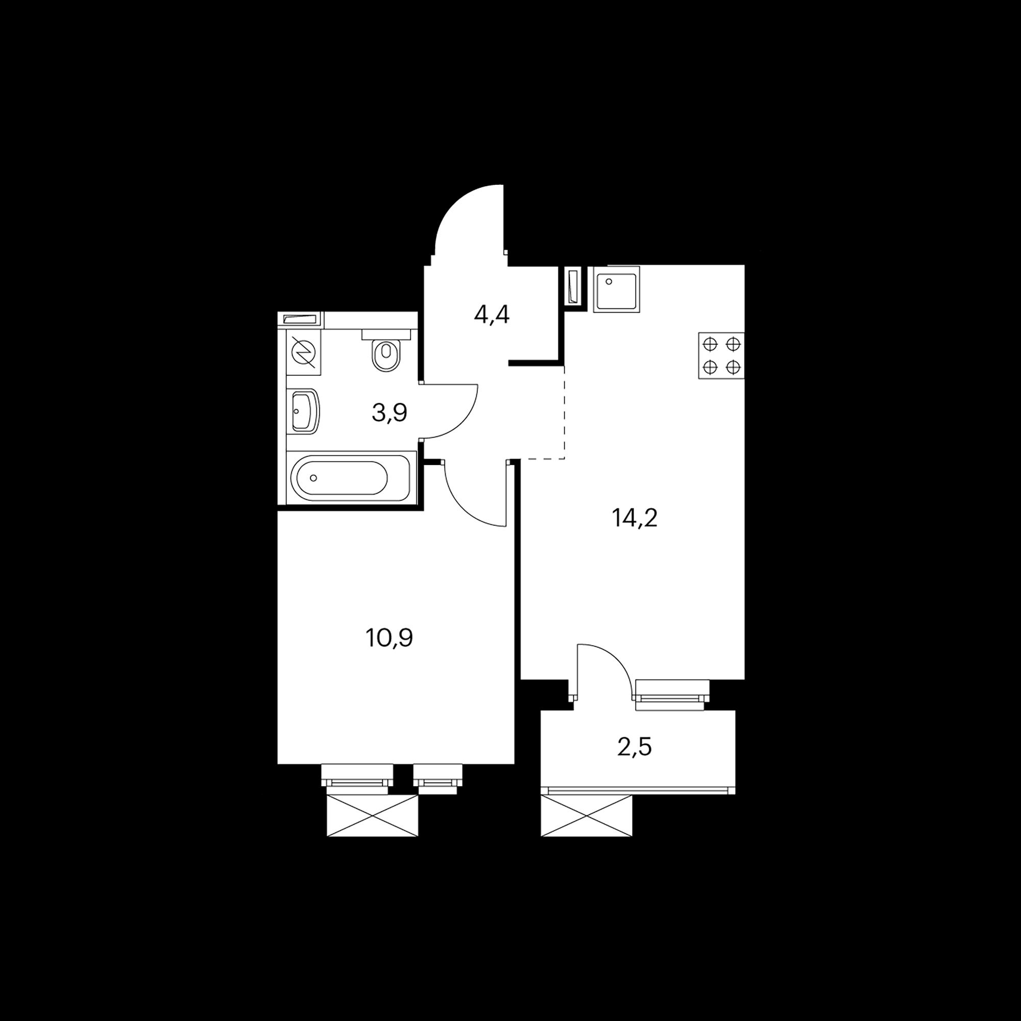 1-комнатная 34.6  м²
