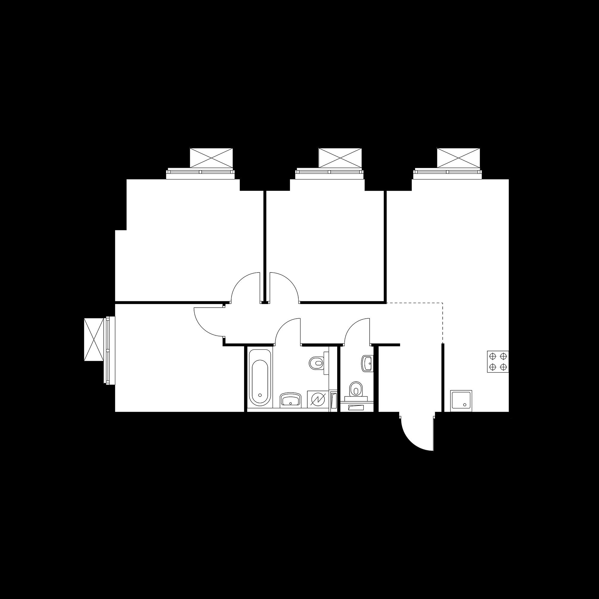 3-комнатная 66.55 м²