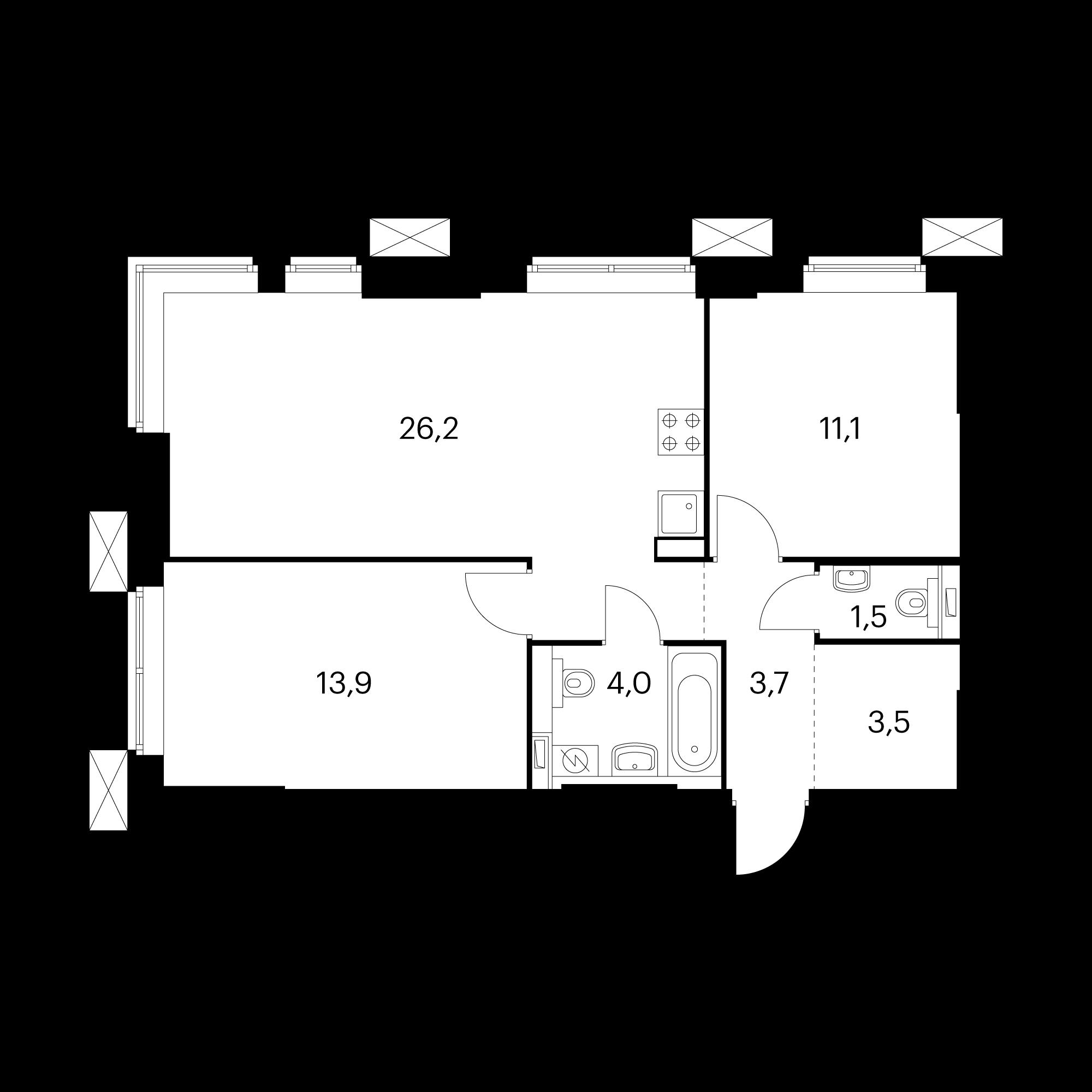 2-комнатные 63.9 м²