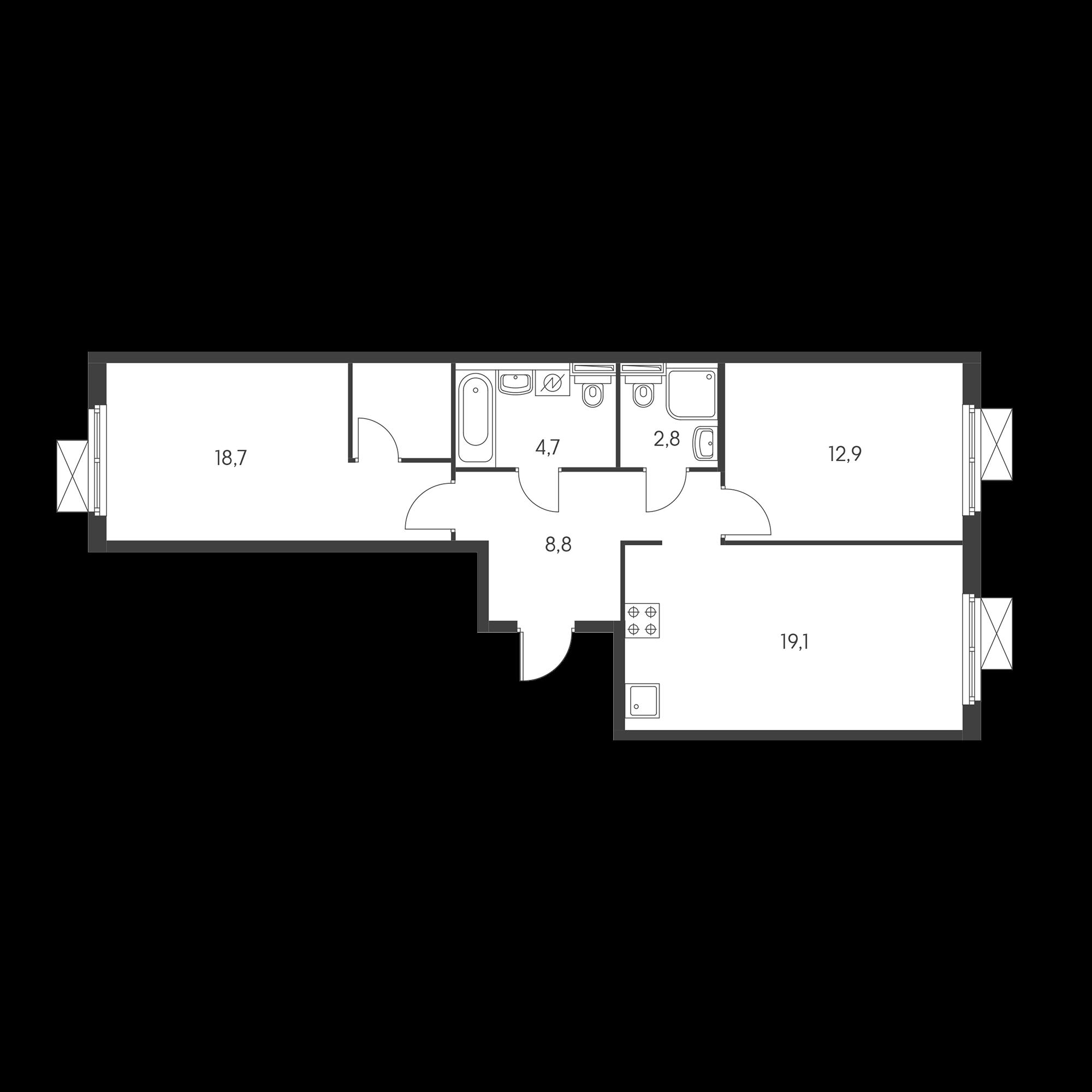 2-комнатная 66.5 м²