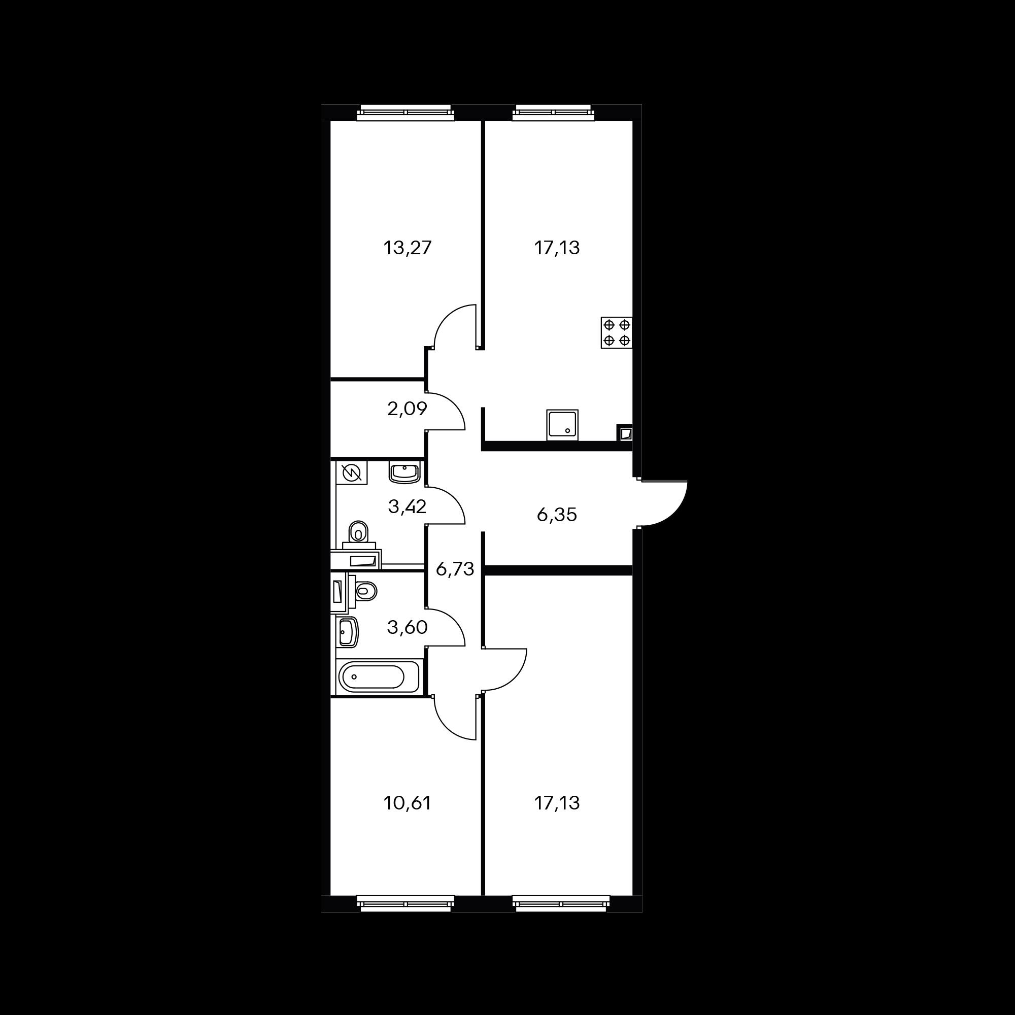 3-комнатная 80.33 м²