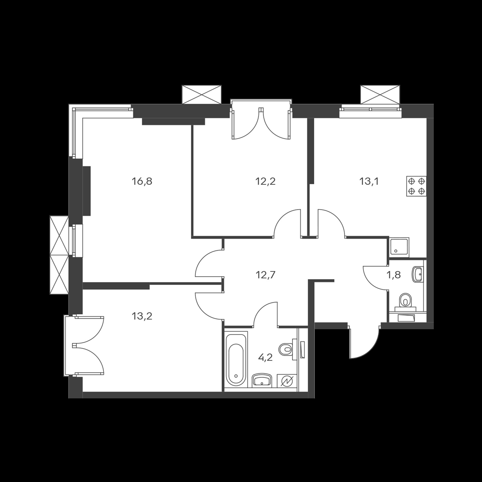 3-комнатная 74 м²