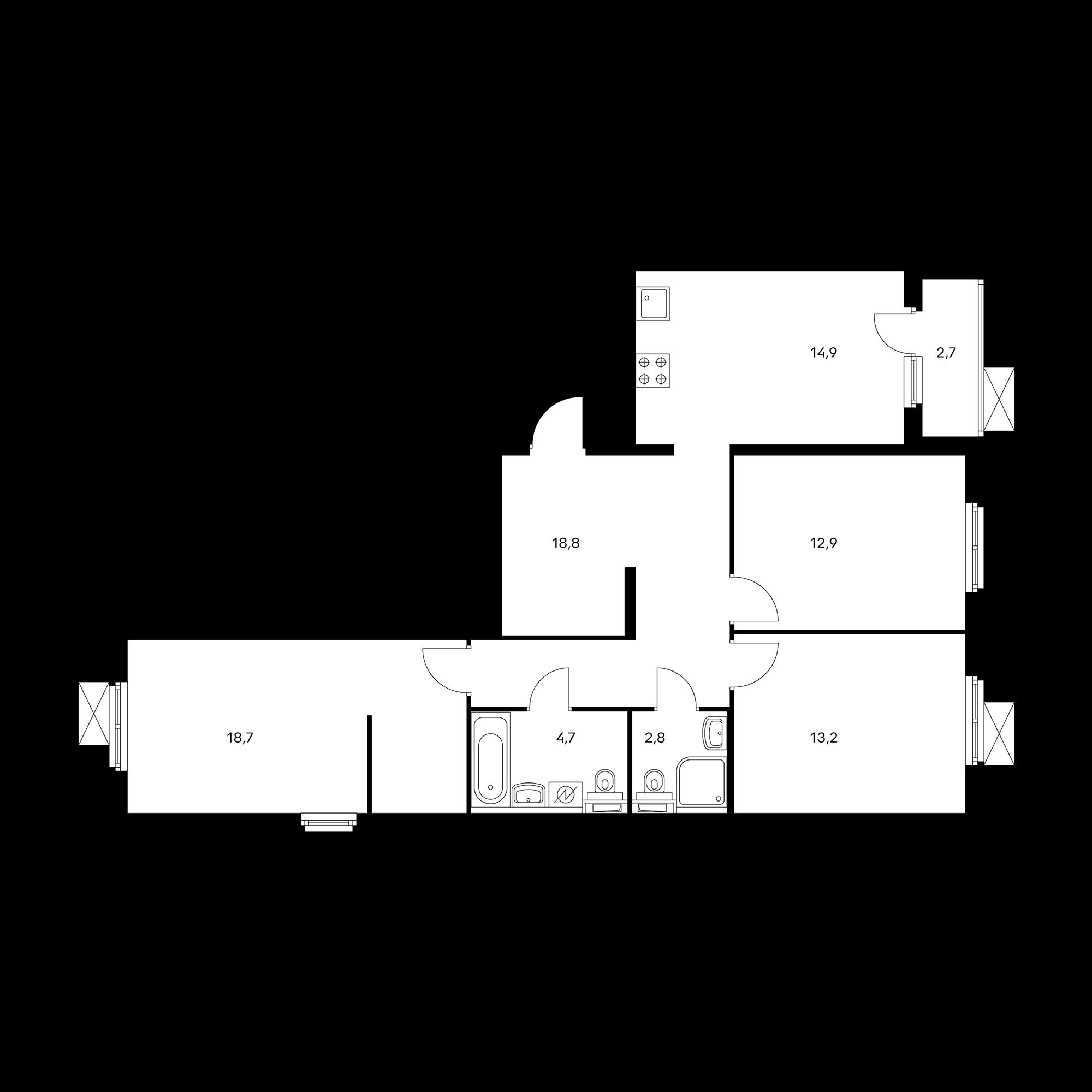 3-комнатная 87.4  м²