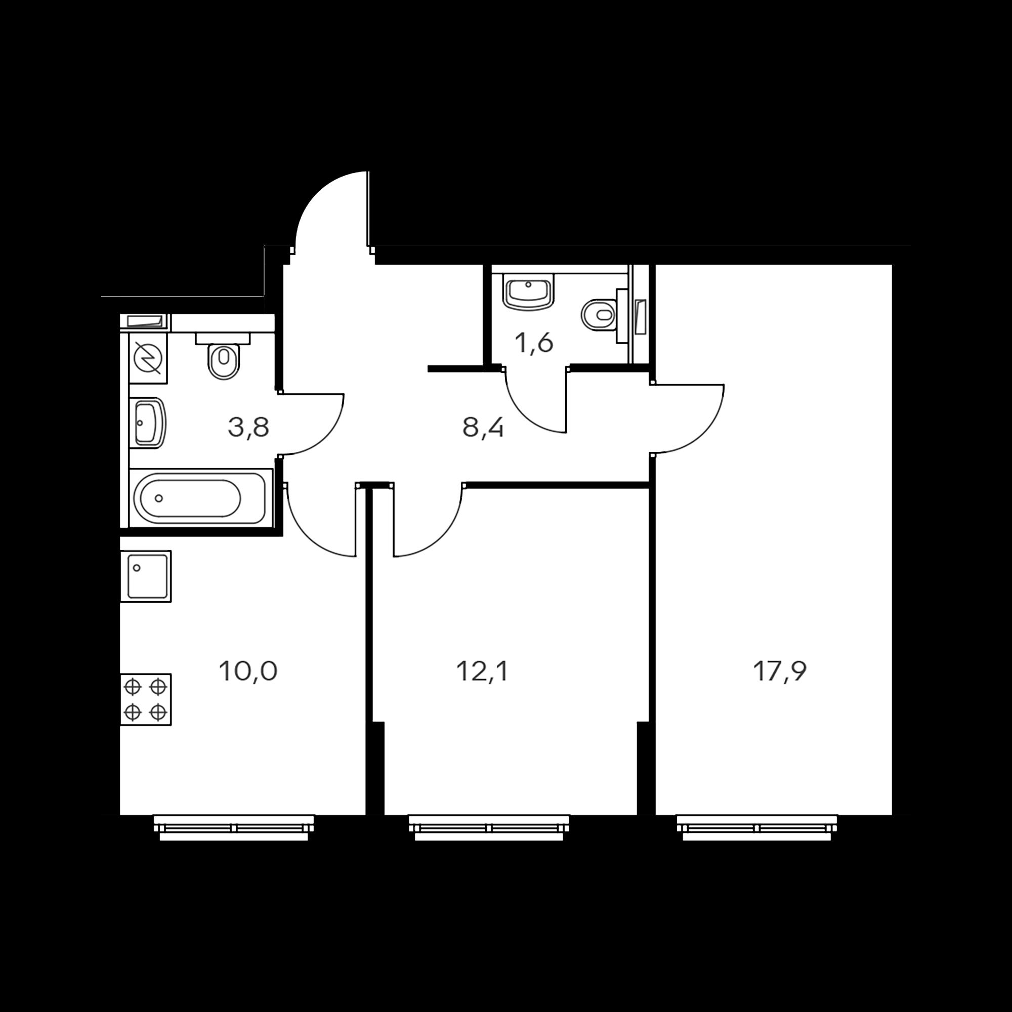 2-комнатная 53.8  м²
