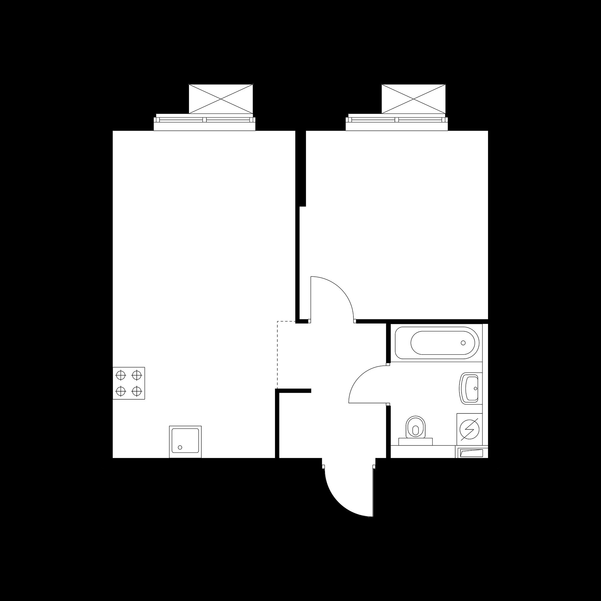 1-комнатная 41.31  м²